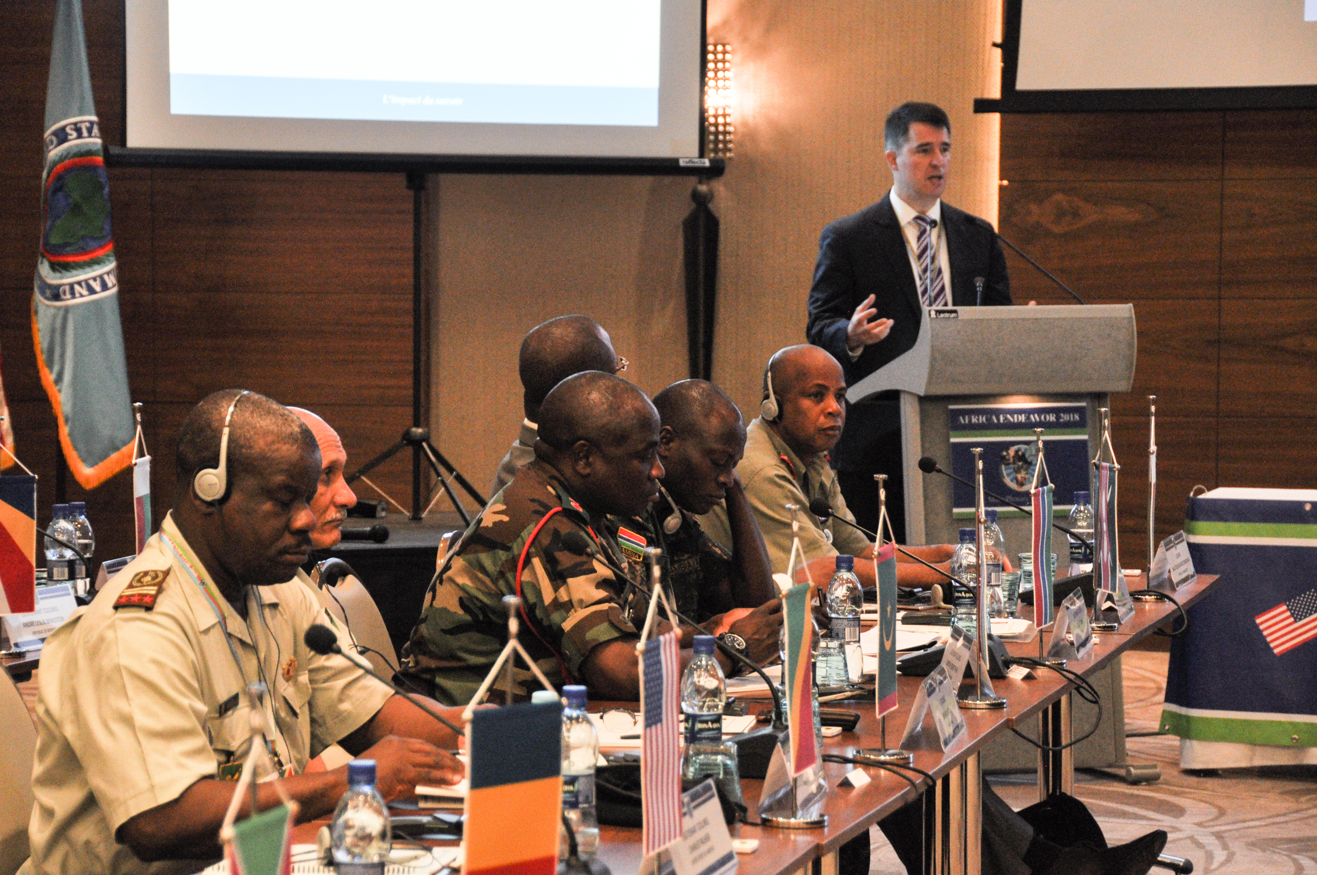 Participants listen to speakers during Africa Endeavor 2018 Aug. 1 in Santa Maria, Sal, Cabo Verde. Africa Endeavor is an annual senior leader and communications symposium designed to help develop multinational communications practices for peacekeeping, disaster response and counter violent extremist organization operations mandated by the African Union and the United Nations.