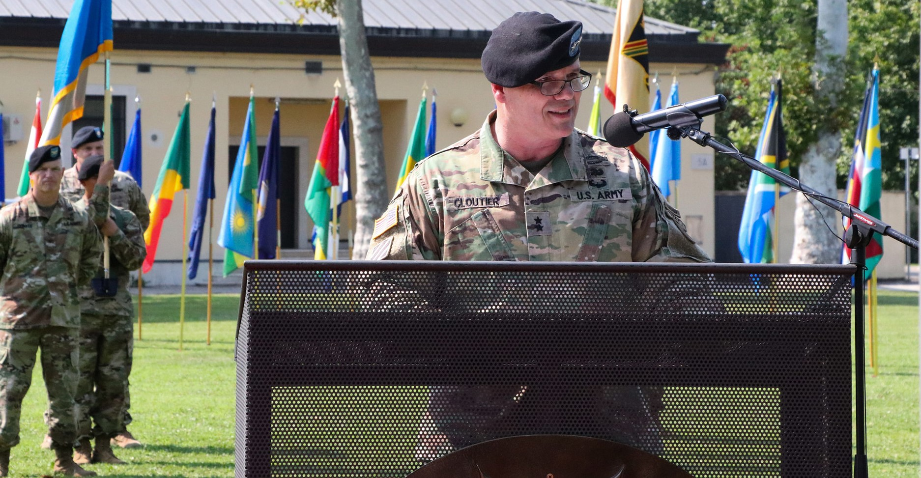 U.S. Army Africa Commanding General Maj. Gen. Roger L. Cloutier Jr. delivers his remarks at the USARAF change of command ceremony held at Caserma Ederle in Vicenza, Italy, Aug. 2, 2018. (U.S. Army photo by Sgt. Jennifer Garza)