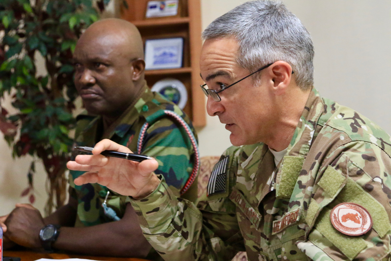 U.S. Air Force Chief Master Sgt. Ramon Colon-Lopez visits Ghanaian Armed Forces's Burma Camp to meet with Ghana's Air Force, Army, Navy and military senior enlisted advisor in Accra, August 6, 2018.  Colon-Lopez's visit included dialogue with Ghana Armed Forces's non-commissioned officers to shape Africa Command's plans to provide senior enlisted professional military education with partnering nations.