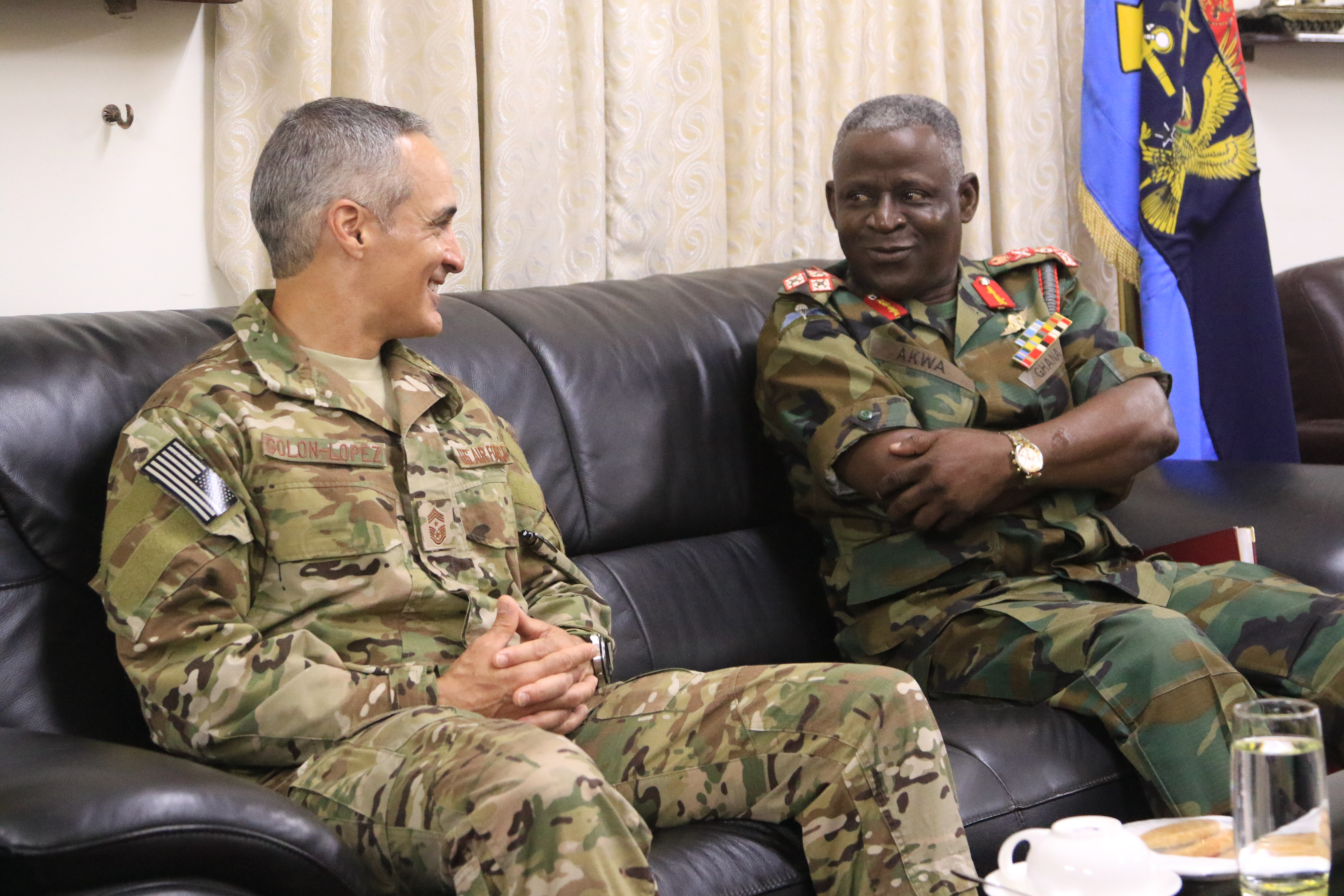 U.S. Air Force Chief Master Sgt. Ramon Colon-Lopez meets with Lt. Gen. Obed Akwa, Ghanaian Chief of Defence Staff, August 7, 2018.  Colon-Lopez's visit included dialogue with Ghana Armed Forces's non-commissioned officers to shape Africa Command's plans to provide senior enlisted professional military education with partnering nations.