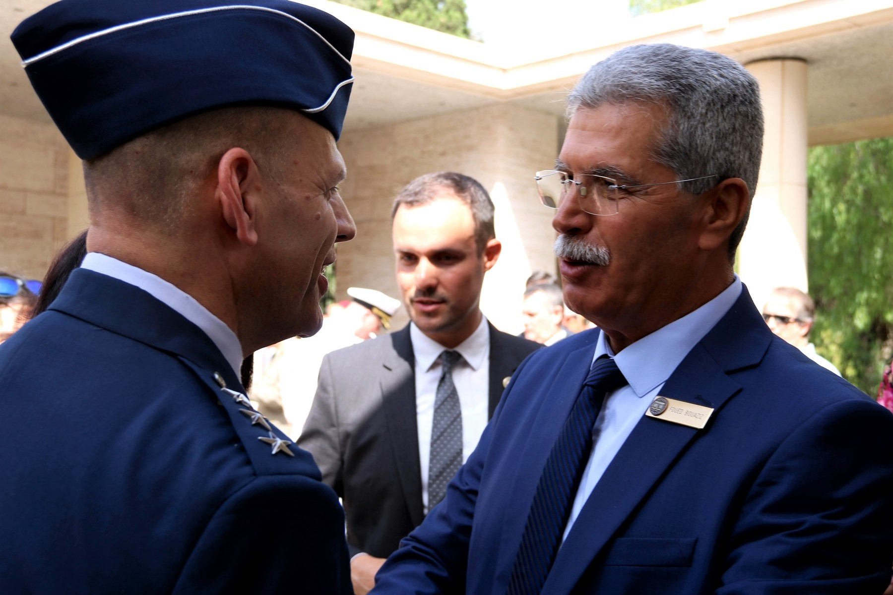 U.S. Air Force Lt. Gen. James C. Vechery, Deputy to the Commander for Military Operations, U.S. Africa Command talks with Mr. Foued Bouaziz, Acting Superintendent, North Africa American Cemetery, after the Memorial Day ceremony in Carthage, Tunisia, May 28, 2018. (Photo by Zouhaier SFAXI, U.S. Embassy Tunis)
