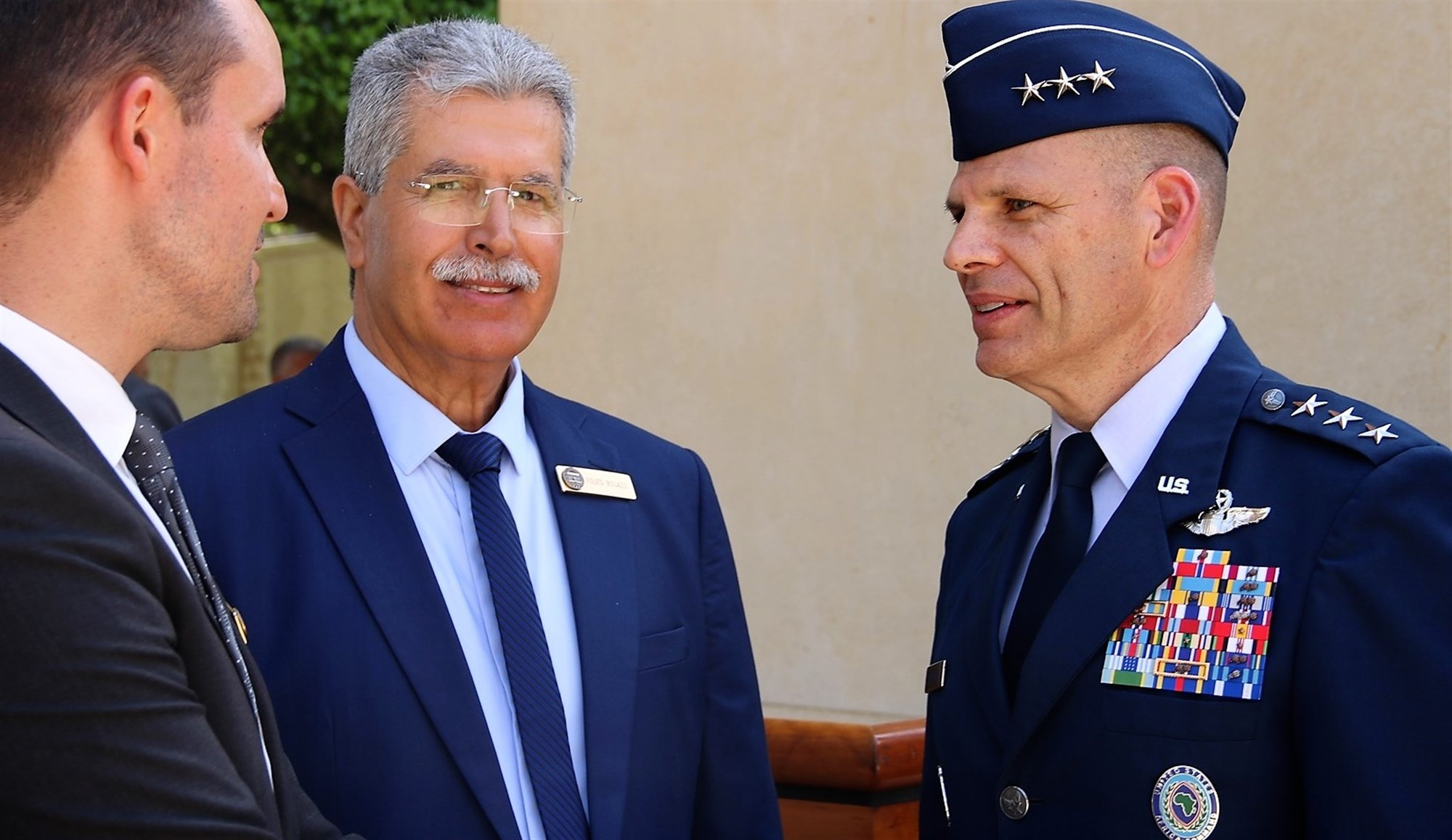 U.S. Air Force Lt. Gen. James C. Vechery, Deputy to the Commander for Military Operations, U.S. Africa Command (right), talks with Mr. Foued Bouaziz, Acting Superintendent, and Mr. Ryan Blum, both with the North Africa American Cemetery, after the Memorial Day ceremony in Carthage, Tunisia, May 28, 2018. (Photo by Zouhaier SFAXI, U.S. Embassy Tunis)