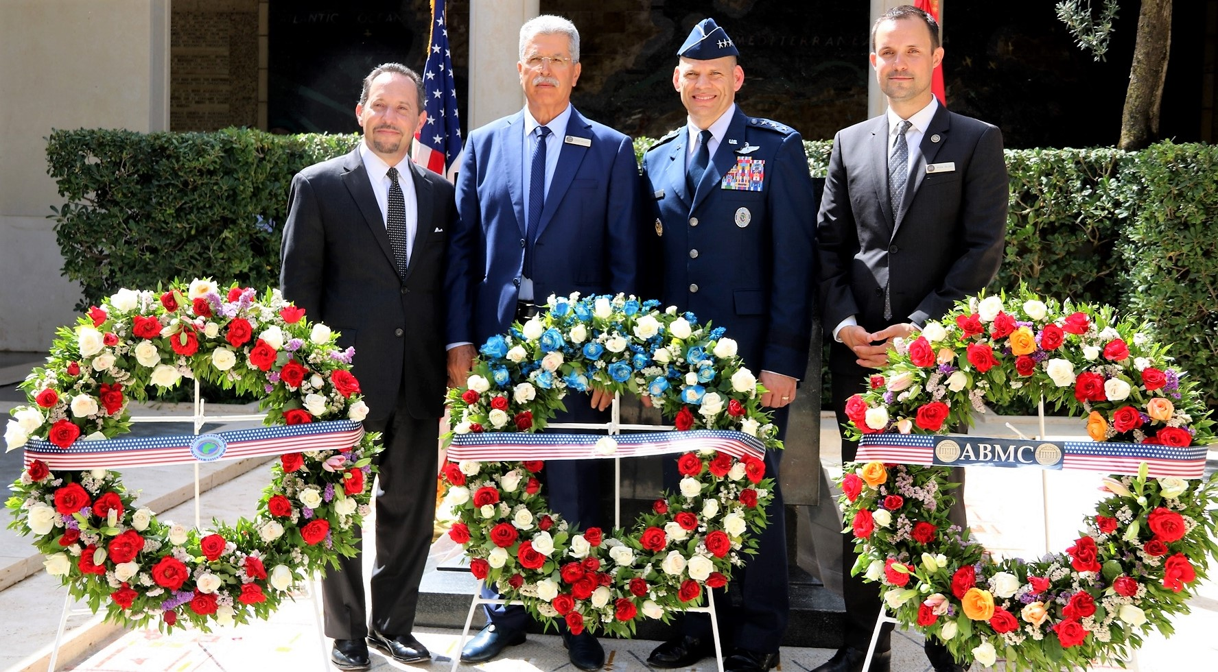 Left-Right: Amb. Daniel Rubinstein, U.S. Ambassador to Tunisia, Mr. Foued Bouaziz, Acting Superintendent, North Africa American Cemetery, U.S. Air Force Lt. Gen. James C. Vechery, Deputy to the Commander for Military Operations, U.S. Africa Command, and Mr. Ryan Blum, North Africa American Cemetery, honor America's fallen as part of the Memorial Day ceremony in Carthage, Tunisia, May 28, 2018. (Photo by Zouhaier SFAXI, U.S. Embassy Tunis)