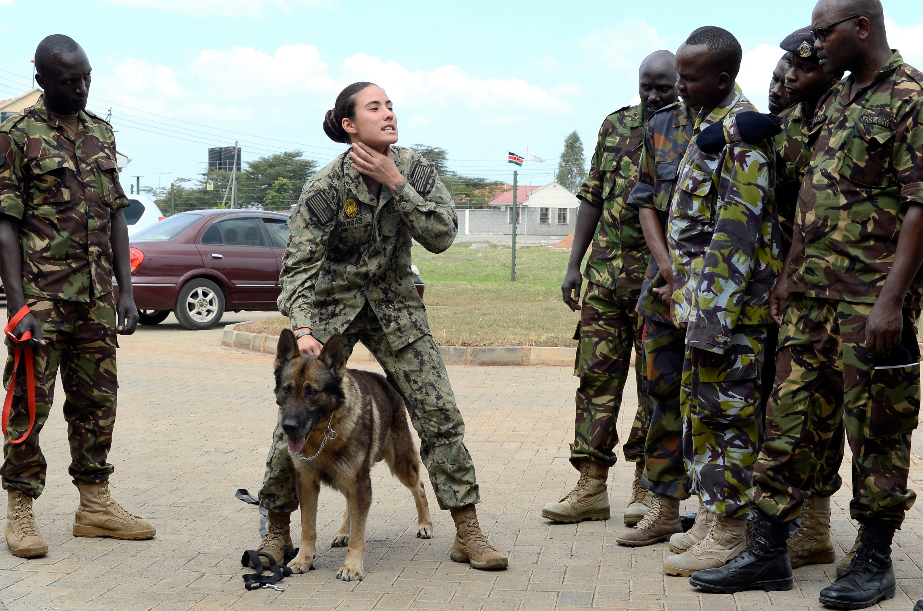 Master at Arms 1st Class Kristina Vargas, the Kennel Master assigned to Camp Lemonnier, explains the importance of properly applying a collar on a military working dog  for members of the Kenyan Defense Force's 1st Canine Regiment during a  knowledge exchange, in Nairobi, Kenya, August 8, 2018. The exchange gave a chance for American and Kenyan forces to learn and work with each other to have a better understanding of each other's capabilities. (U.S. Navy Photo by Mass Communication Specialist 2nd Class Timothy M. Ahearn)