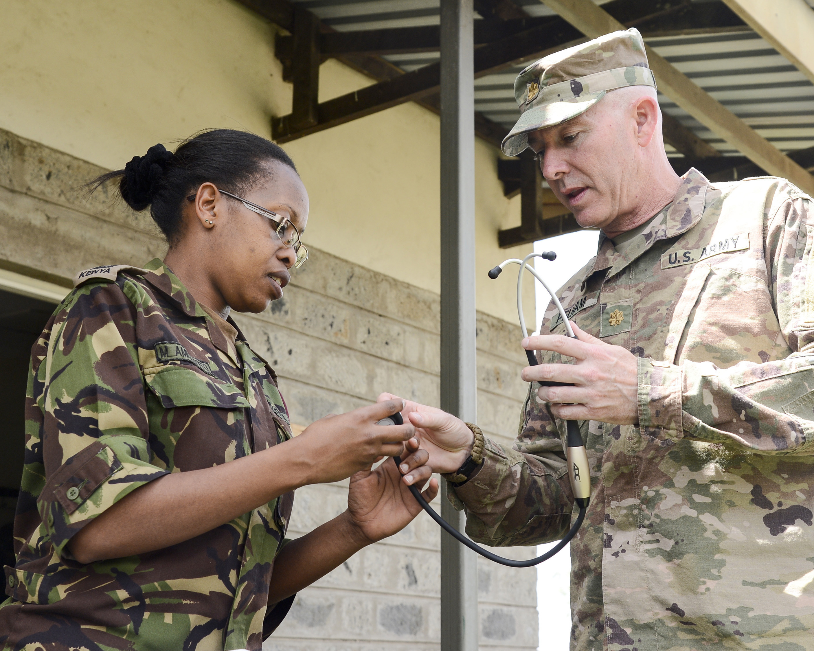 Kenyan Maj. Marion Amulyoto, Lead Veterinarian, 1st Canine Regiment, Kenya Defense Force, and Army Maj. Steven Pelham, 404th Civil Affairs Battalion Functional Specialty Team, Veterinarian Officer in Charge, test a stethiscope during a military working dog knowledge exchange, in Nairobi, Kenya, August 7, 2018. The exchange gave a chance for American and Kenyan forces to learn and work with each other to have a better understanding of each other's capabilities. (U.S. Navy Photo by Mass Communication Specialist 2nd Class Timothy M. Ahearn)