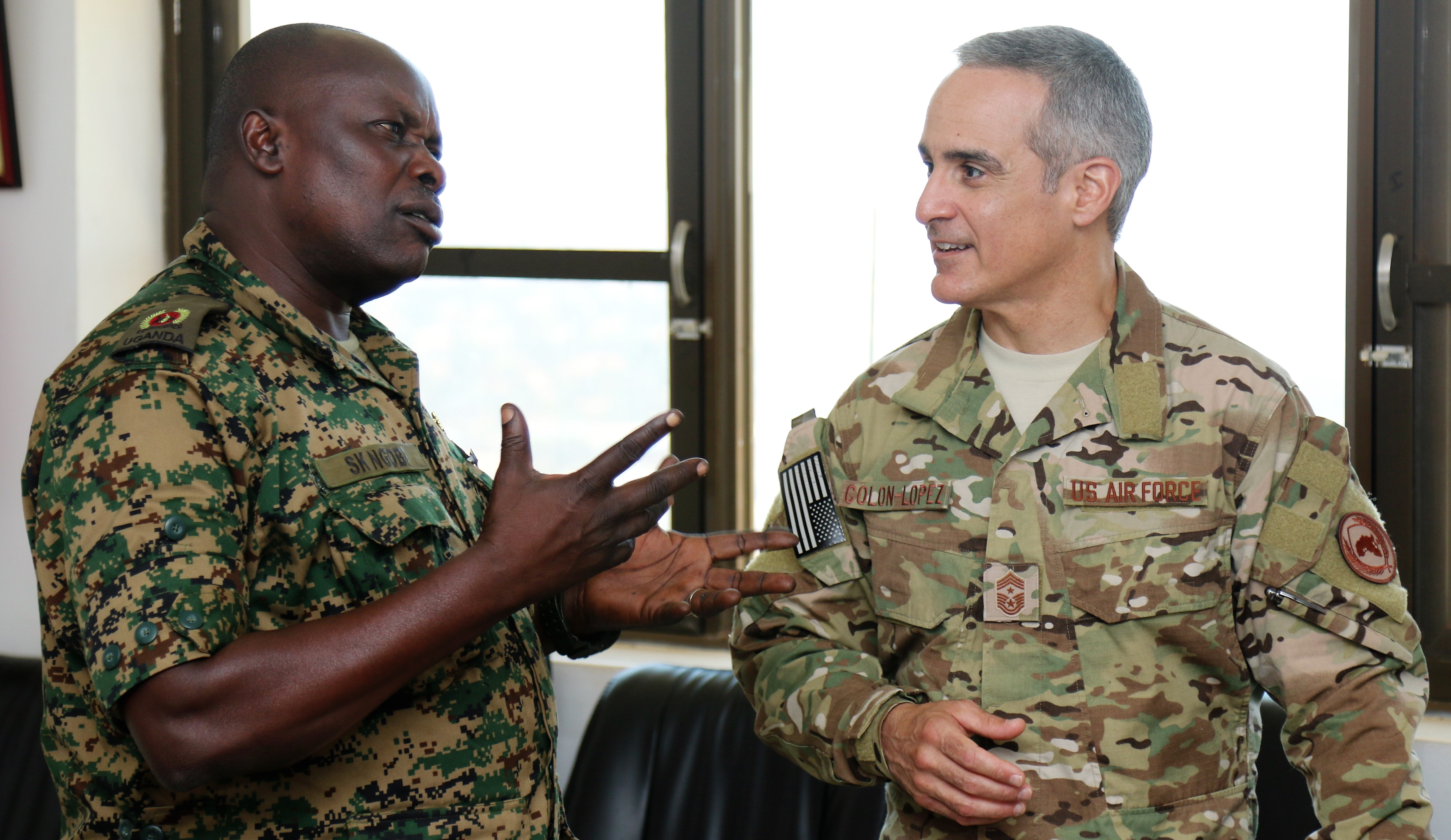 U.S. Air Force Chief Master Sgt. Ramon Colon-Lopez met with leadership from the Uganda Peoples' Defence Force in Kampala, Uganda Aug. 15, 2018 to discuss non-commissioned officer professional development.