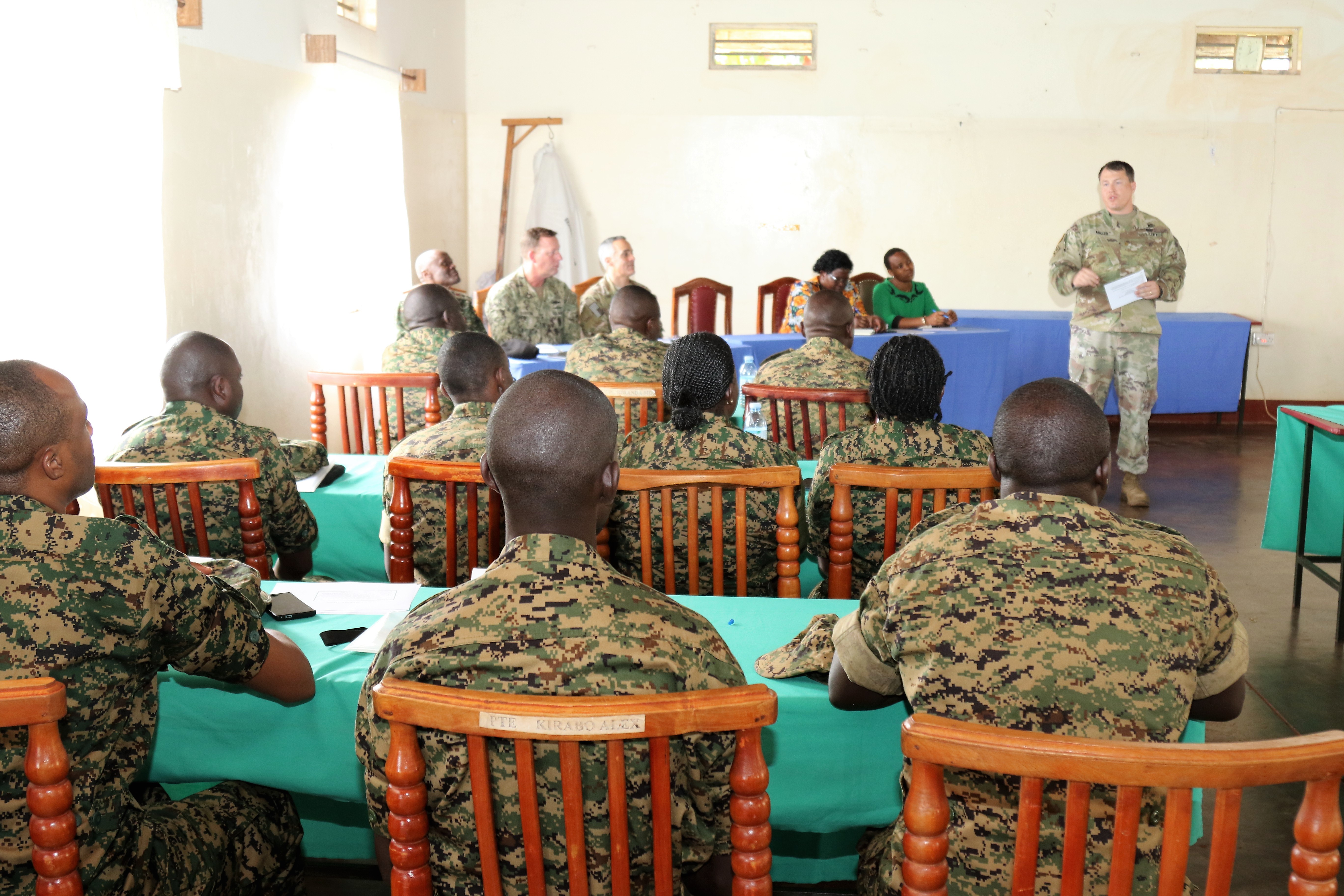 Uganda Peoples' Defence Force soldiers attend a graduation ceremony for a trauma nursing course taught by U.S. military medical personnel Aug. 16, 2018 in Jinga, Uganda. The course allowed students to not only learn technical skills, but also the skills needed in order to teach the course to other UPDF personnel.