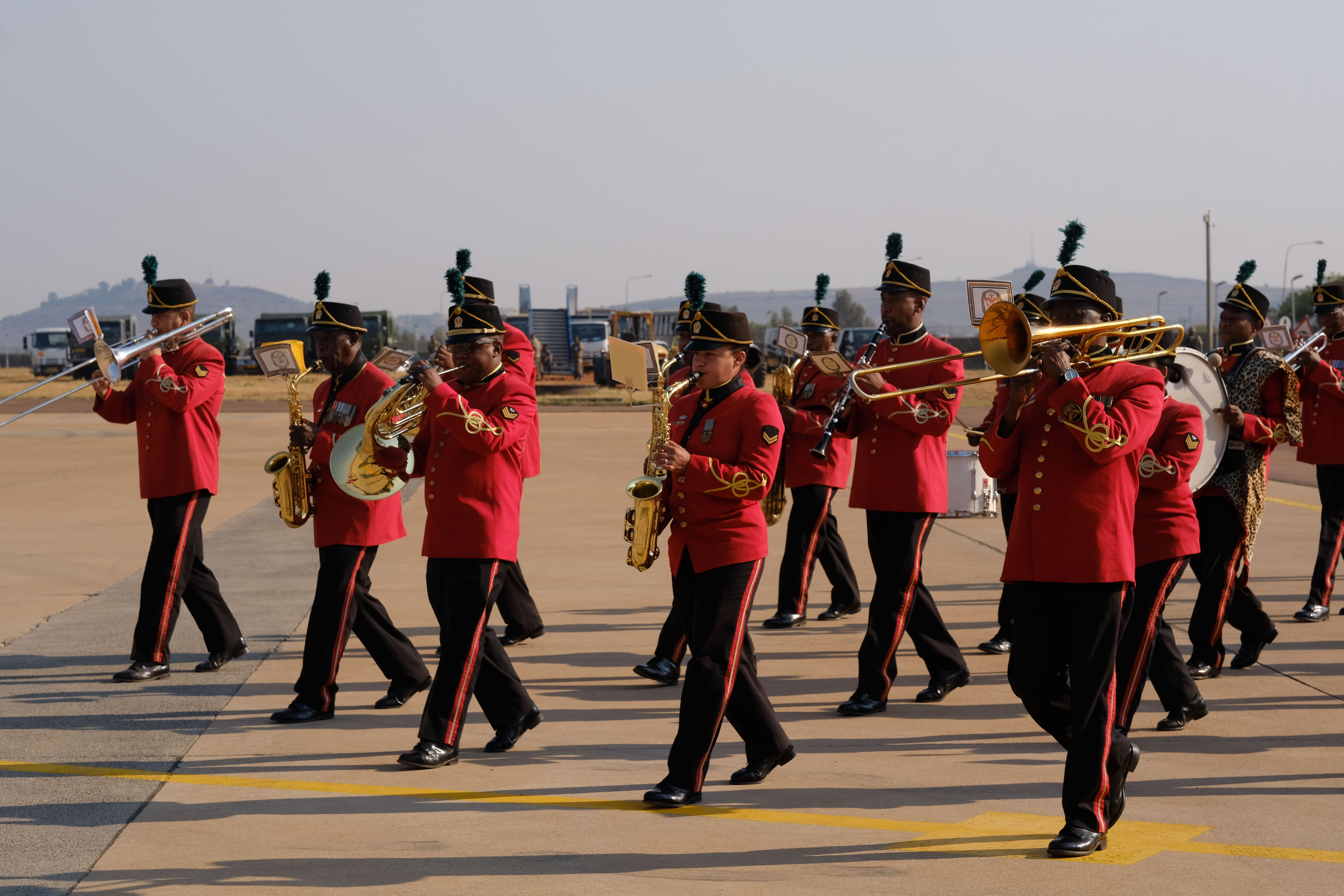 Members of the South African Army Band march during the African Aerospace and Defense Exhibition 18 opening ceremony, September 19, 2018, Waterkloof Air Force Base, South Africa.This tradeshow will increase our understanding of each other's capabilities and proficiencies, enhancing our ability to operate together. (US Army Photo by SSG Jeffery Sandstrum)