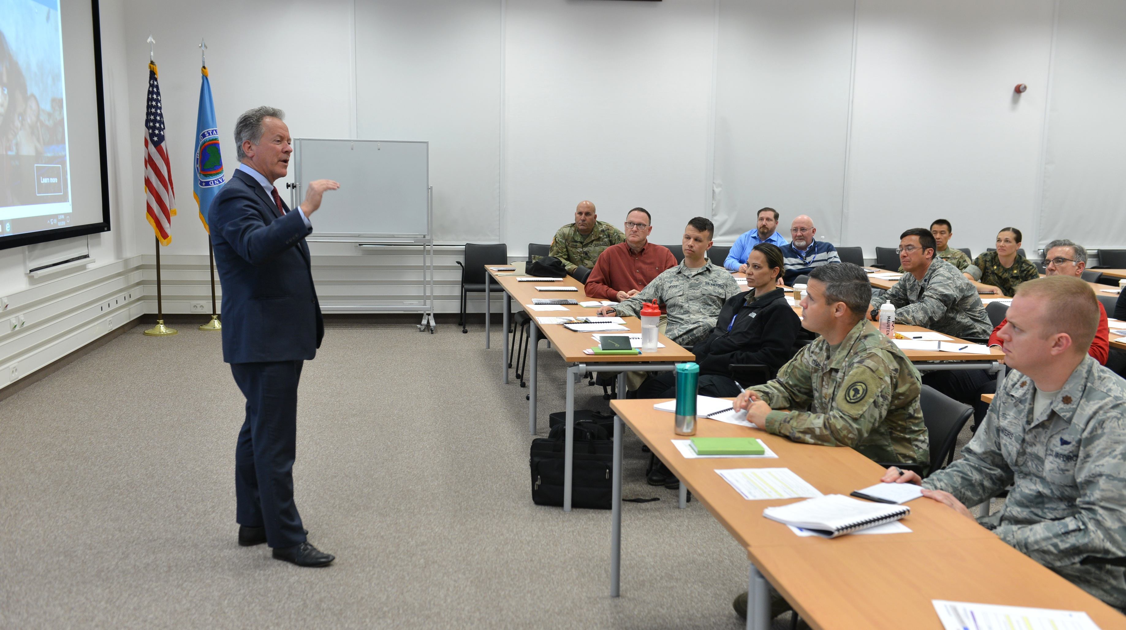 David Beasley, Executive Director of the U.N. World Food Program, addresses attendees of the Joint Humanitarian Operations Course, Oct. 4, 2018, at the U.S. Africa Command Special Events Center.