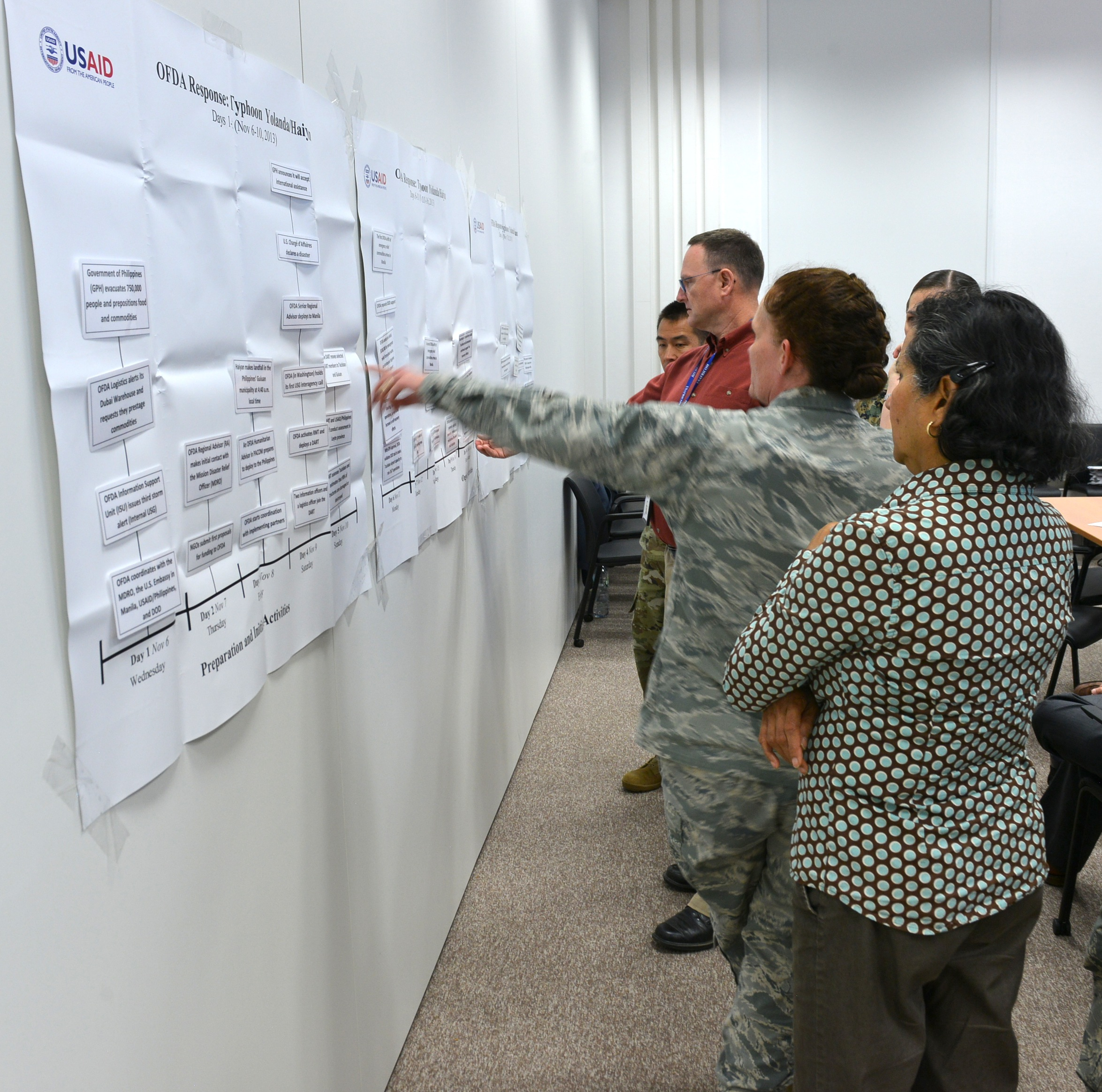 Members of U.S. Africa Command conduct a class exercise, Oct. 3, 2018, during a Joint Humanitarian Operations Course, on Kelly Barracks, Oct. 3-4, 2018. The course focused on roles, responsibilities, and capabilities of the USAID Office of Foreign Disaster Assistance and how it coordinates with Department of Defense in a disaster response.
