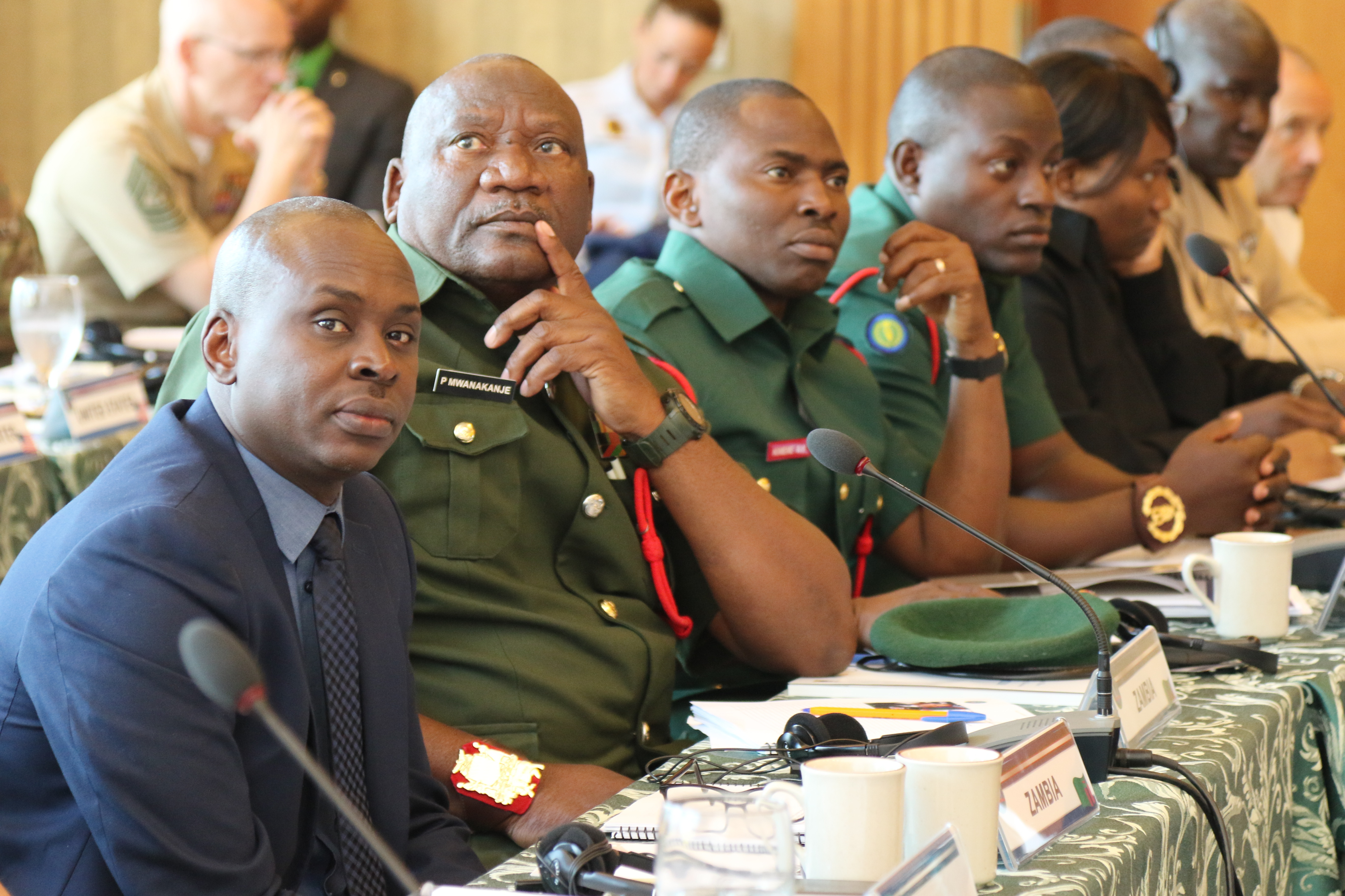 Senior enlisted leaders from Zambia listen to a presentation during the 2018 Africa Senior Enlisted Leader Conference held Oct. 16-19 in Garmisch-Partenkirchen, Germany. ASELC brings together senior enlisted leaders from Africa and the U.S. to discuss shared challenges and opportunities.