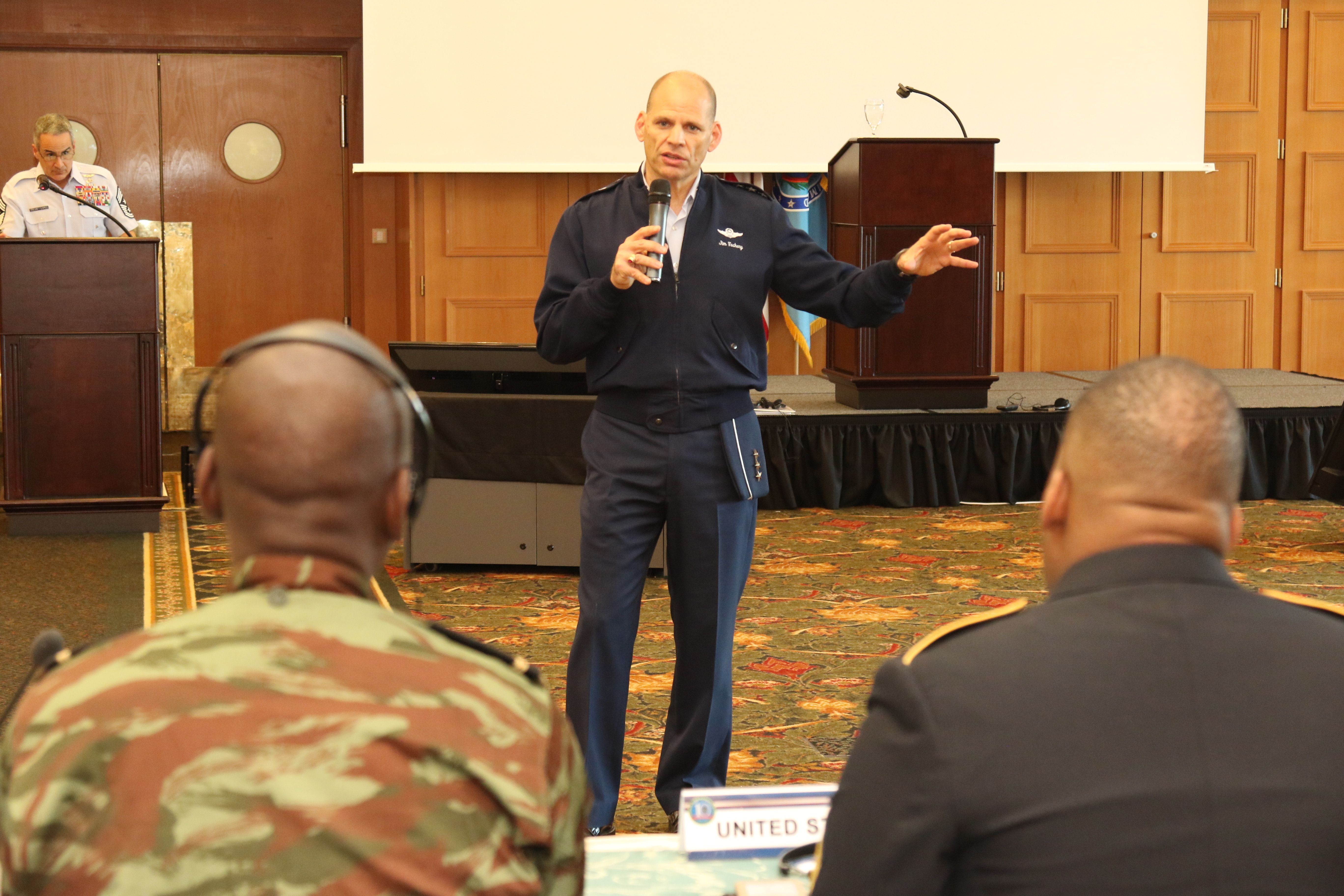 U.S. Air Force Lt. Gen. James Vechery, Deputy to the Commander for Military Operations, U.S. Africa Command, speaks during the 2018 Africa Senior Enlisted Leader Conference held Oct. 16-19 in Garmisch-Partenkirchen, Germany. This year, senior enlisted leaders from 25 African partner nations and the U.S. attended the event.