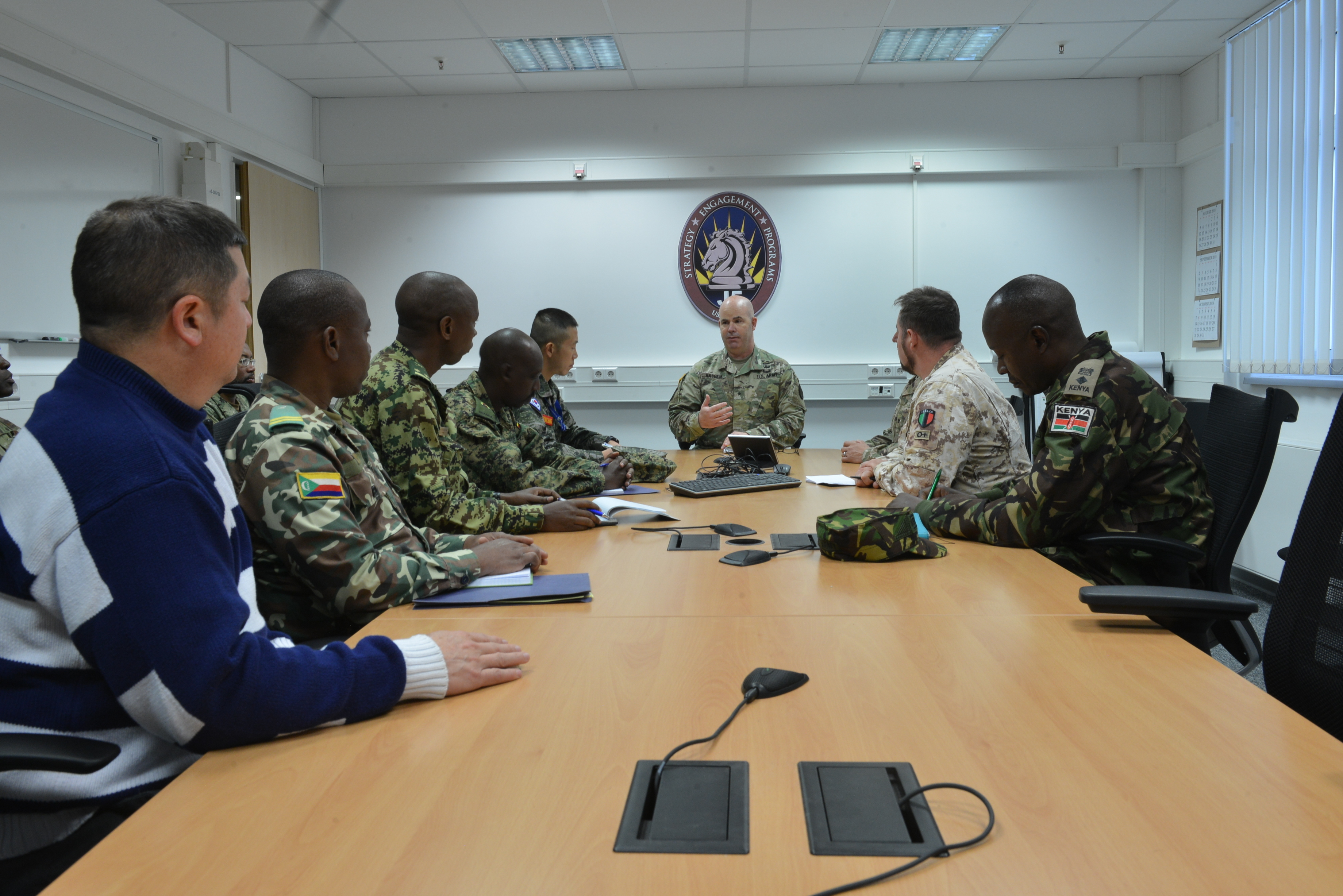 U.S. Army Brig. Gen. John Hashem, U.S. Africa Command J5 Deputy Director for Plans and Strategic Integration, meets with foreign liaison officers from Combined Joint Task Force - Horn of Africa Oct. 30, 2018 in Stuttgart, Germany. The liaison officers were visiting the AFRICOM headquarters to meet with staff and receive briefings.