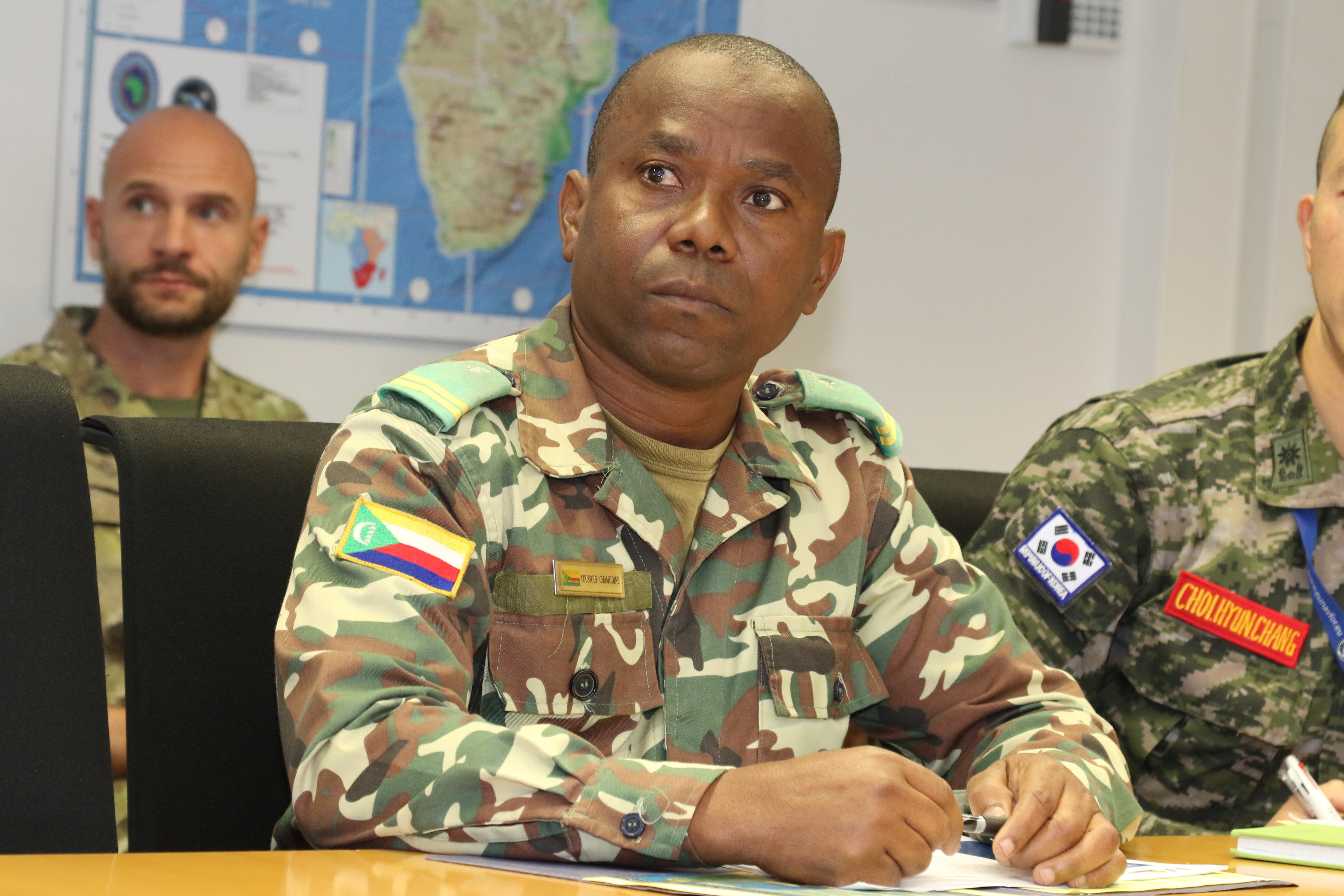 A foreign liaison officer from Comoros listens to briefings during a visit to U.S. Africa Command headquarters Oct. 30, 2018. Foreign liaison officers from Combined Joint Task Force - Horn of Africa visited AFRICOM headquarters to meet with staff and receive briefings.