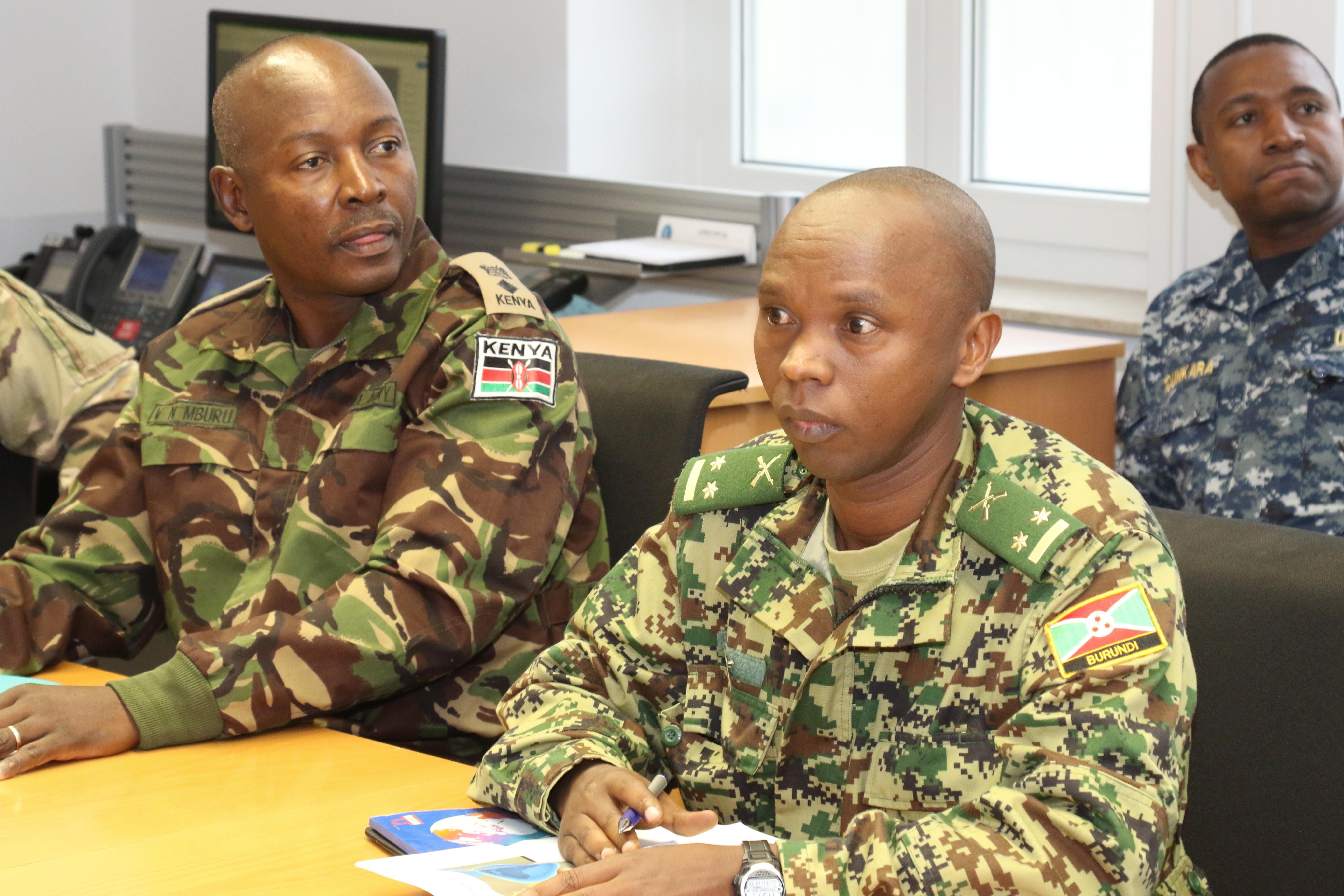 Foreign liaison officers from Kenya and Burundi listen to briefings during a visit to the U.S. Africa Command headquarters in Stuttgart, Germany Oct. 30, 2018. Liaison officers from Combined Joint Task Force - Horn of Africa visited AFRICOM to meet with staff and receive briefings.