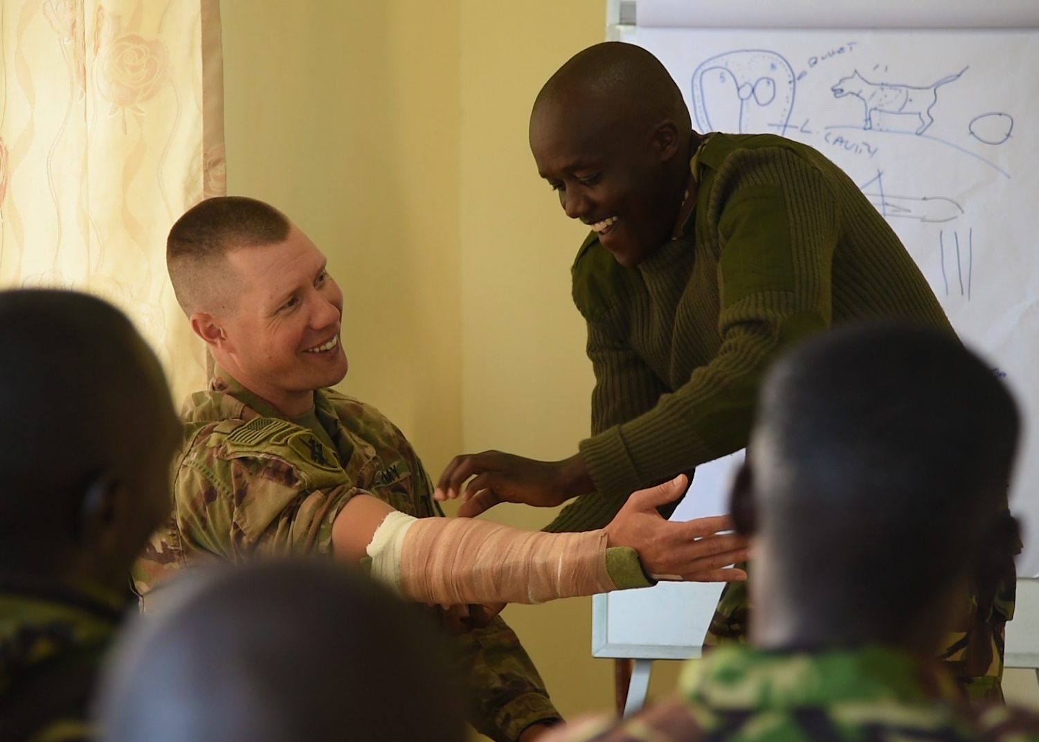 U.S. Army Capt. James McKasson, a veterinarian from the 403rd Civil Affairs Battalion's Functional Specialty Team assigned to Combined Joint Task Force-Horn of Africa, participates in a demonstration of splinting procedures with a member of the Kenya Defence Force's 1st Canine Regiment in Nairobi, Kenya, Nov. 23, 2018. Tactical Combat Casualty Care was a primary focus in the recent exchange between U.S. and Kenyan veterinarians and military working dog handlers. (U.S. Air Force photo by Senior Airman Kirsten Brandes)