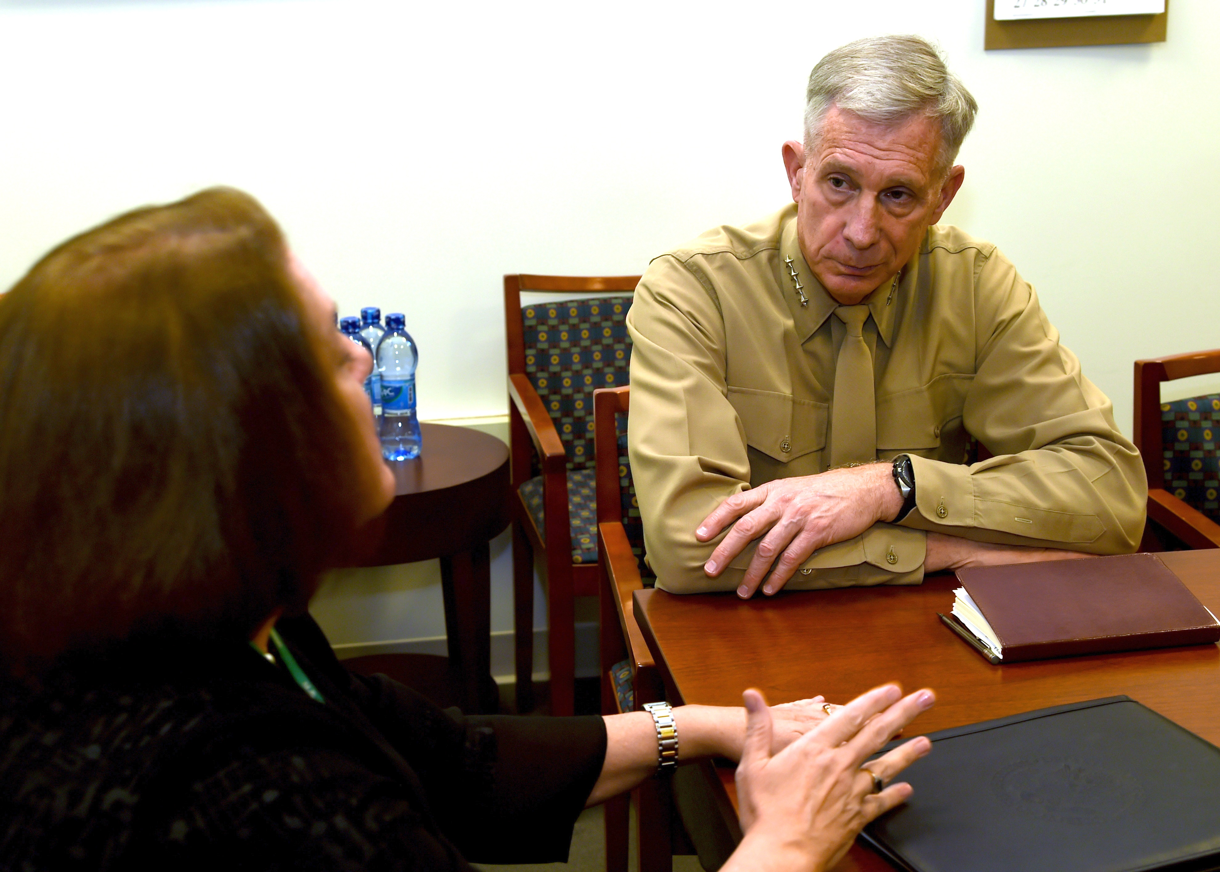 ADDIS ABABA, Ethiopia – U.S. Marine Gen. Thomas D. Waldhauser, Commander, U.S. Africa Command speaks with Ambassador Mary Beth Leonard, U.S. Ambassador to the African Union at a meeting in Addis Ababa, Ethiopia, Nov. 28, 2018. During his visit to Addis Ababa, Waldhauser also met with Ethiopian Minister of Defense Aisha Mohammed, U.S. Ambassador to Ethiopia Michael Raynor, and Assistant Secretary of State for the Bureau of African Affairs, Tibor P. Nagy. 