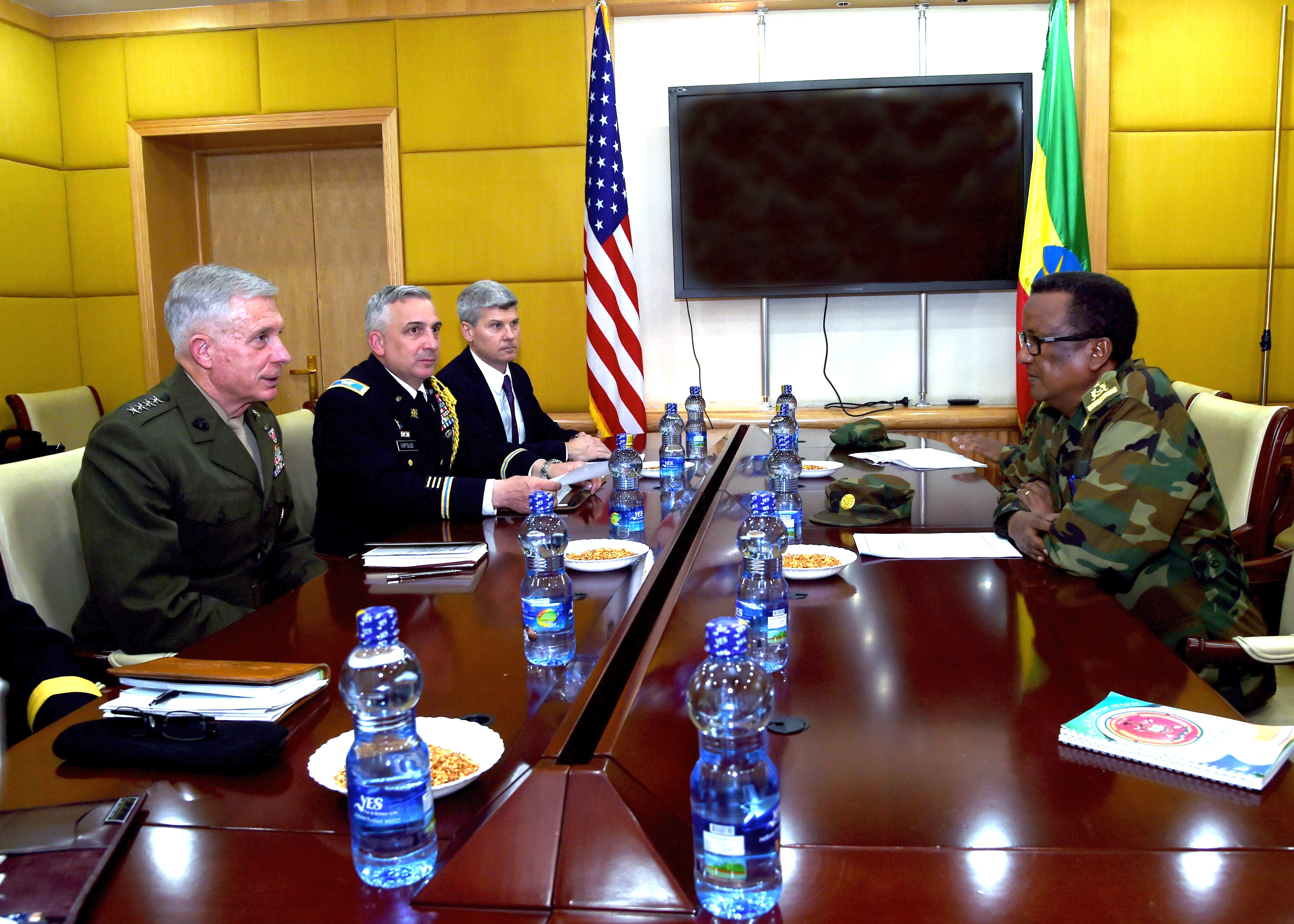 ADDIS ABABA, Ethiopia – U.S. Marine Gen. Thomas D. Waldhauser, Commander, U.S. Africa Command, meets with Ethiopian Gen. Birhanu Jula, Deputy Chief of General Staff for the Ministry of Defense for Ethiopia at a meeting in Addis Ababa, Ethiopia, Nov. 28, 2018. During his visit to Addis Ababa, Waldhauser also met with Ethiopian Minister of Defense Aisha Mohammed, U.S. Ambassador to Ethiopia Michael Raynor, and Assistant Secretary of State for the Bureau of African Affairs, Tibor P. Nagy. 