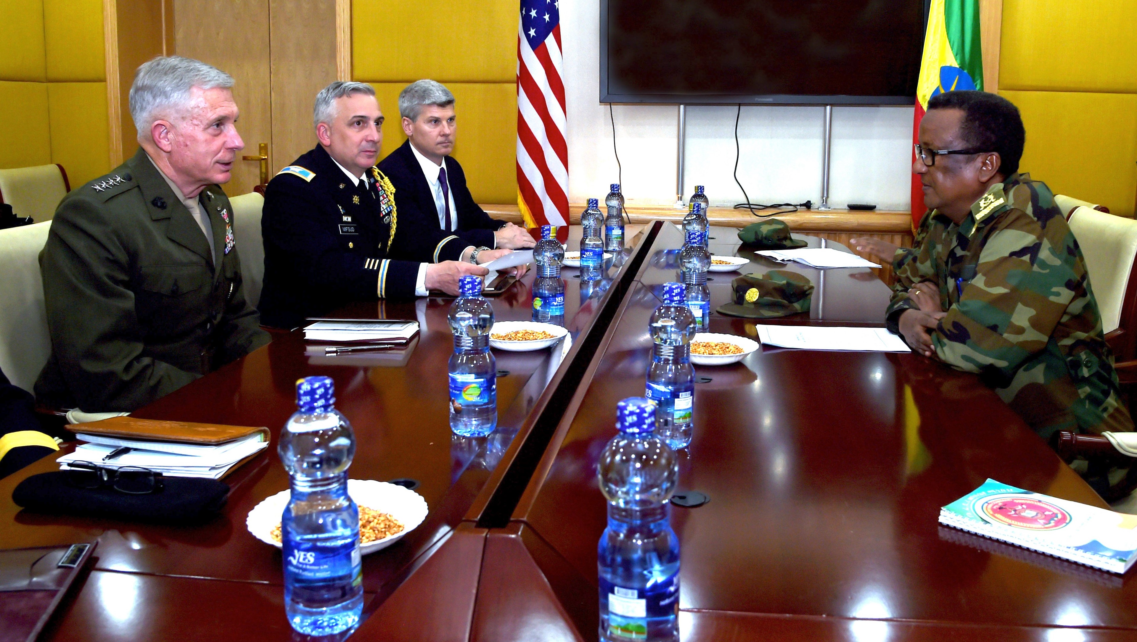 ADDIS ABABA, Ethiopia – U.S. Marine Gen. Thomas D. Waldhauser, Commander, U.S. Africa Command, meets with Ethiopian Gen. Birhanu Jula, Deputy Chief of General Staff for the Ministry of Defense for Ethiopia at a meeting in Addis Ababa, Ethiopia Nov. 28, 2018. During his visit to Addis Ababa, Waldhauser also met with Ethiopian Minister of Defense Aisha Mohammed, U.S. Ambassador to Ethiopia Michael Raynor, and Assistant Secretary of State for the Bureau of African Affairs, Tibor P. Nagy. (U.S. Navy Photo by Mass Communication Specialist 1st Class Nick Scott)