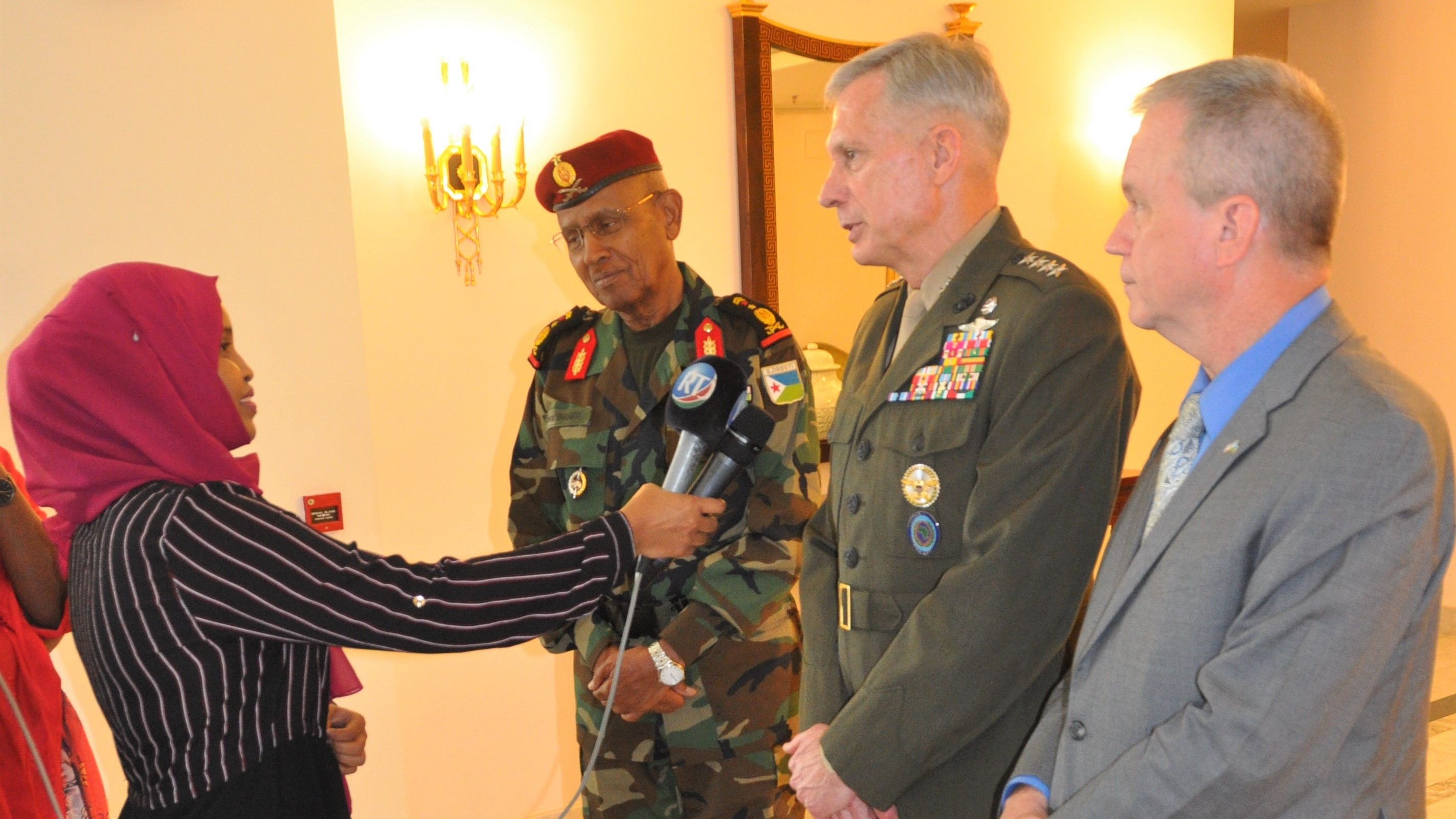 "DJIBOUTI CITY, Djibouti—U.S. Ambassador to Djibouti Larry André and Gen. Thomas D. Waldhauser, commander of United States Africa Command (AFRICOM), conducted a media interview following a meeting with President Ismail Omar Guelleh on Nov. 29, 2018, in Djibouti City, Djibouti.  ""We have a strong, cooperative relationship with the Republic of Djibouti,"" said Waldhauser, ""and we view security and access to Djibouti as a top priority.""