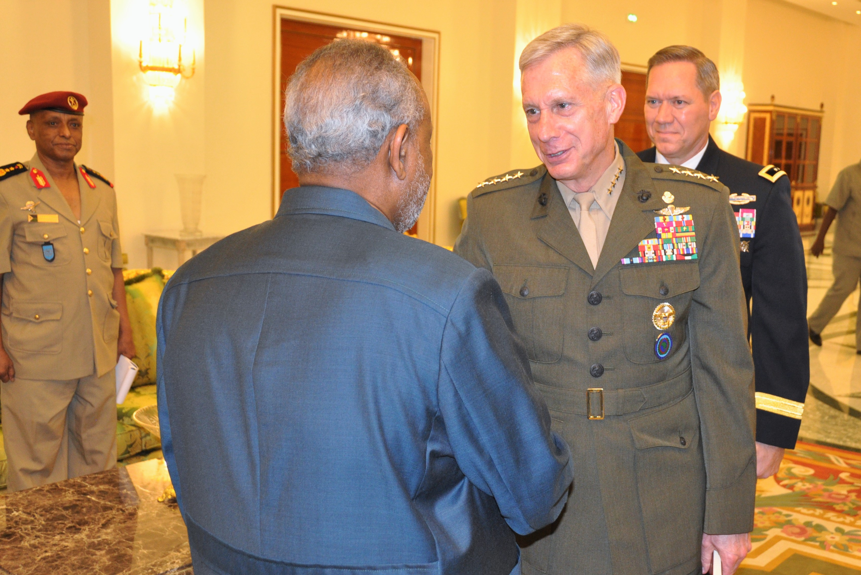 "DJIBOUTI CITY, Djibouti— Gen. Thomas D. Waldhauser, commander of United States Africa Command (AFRICOM), and U.S. Ambassador to Djibouti Larry André, met with senior Djiboutian officials, including President Ismail Omar Guelleh, on Nov. 29, 2018, in Djibouti City, Djibouti.   ""We have a strong, cooperative relationship with the Republic of Djibouti,"" said Waldhauser, ""and we view security and access to Djibouti as a top priority.""