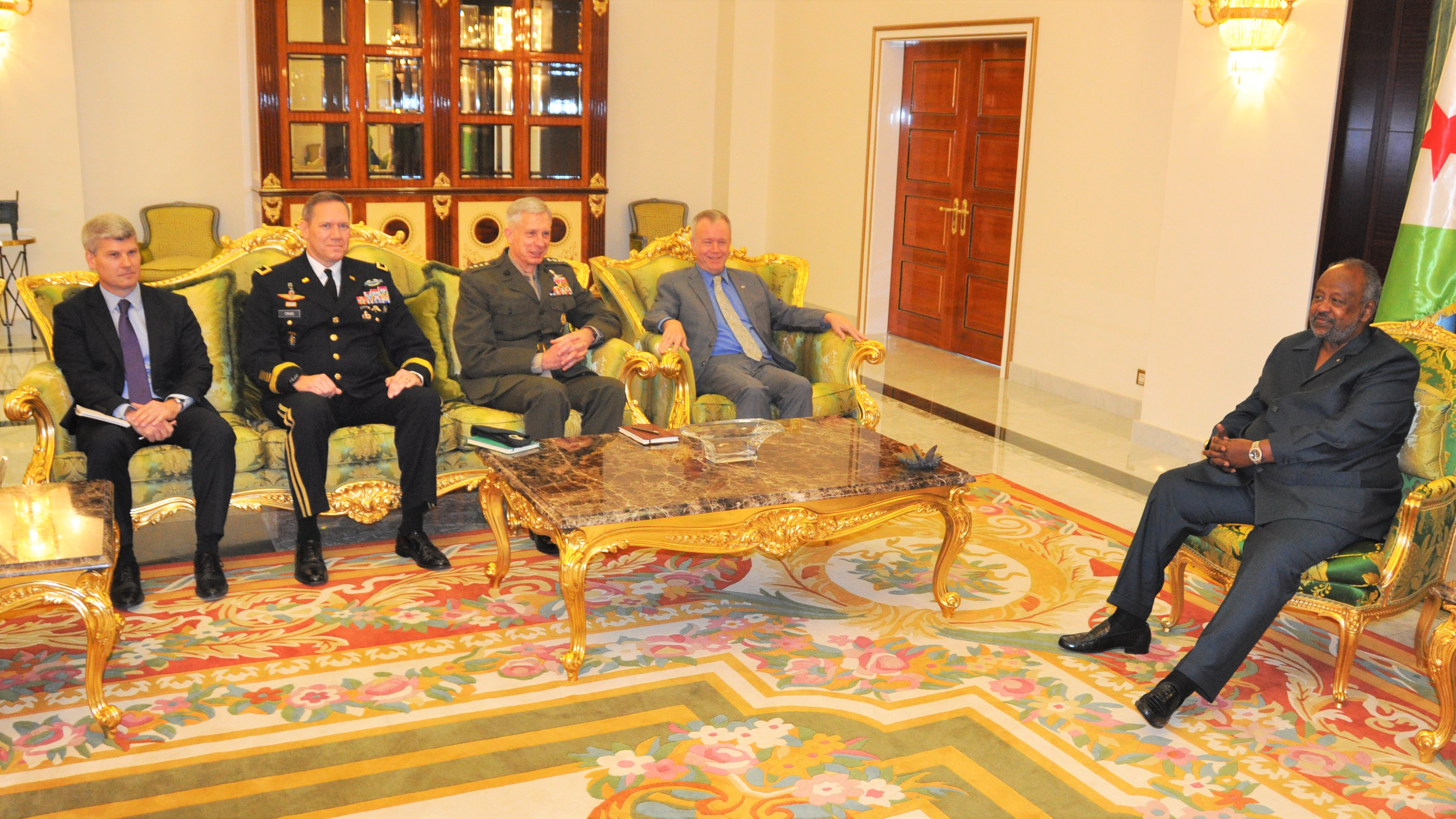 "DJIBOUTI CITY, Djibouti—U.S. Ambassador to Djibouti Larry André and Gen. Thomas D. Waldhauser, commander of United States Africa Command (AFRICOM), met with senior Djiboutian officials, including President Ismail Omar Guelleh, on Nov. 29, 2018, in Djibouti City, Djibouti.   ""We have a strong, cooperative relationship with the Republic of Djibouti,"" said Waldhauser, ""and we view security and access to Djibouti as a top priority.""