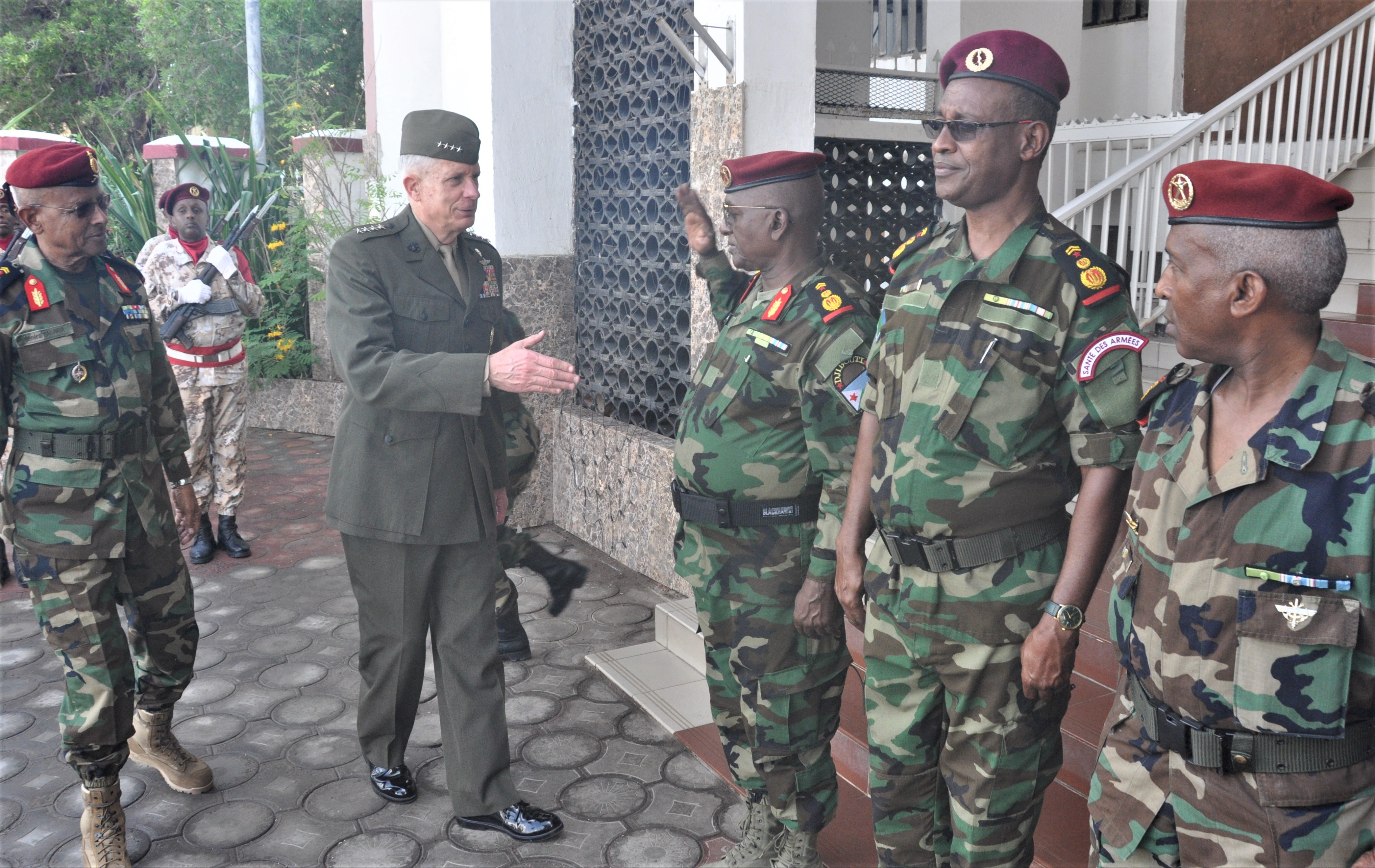 DJIBOUTI CITY, Djibouti—During a four-day trip to East Africa, Gen. Thomas D. Waldhauser, commander of United States Africa Command (AFRICOM), greets members of the Djiboutian armed forces prior to a meeting with Chief of Defense Gen. Zakaria Cheikh Ibrahim on Nov. 29, 2018, Djibouti City, Djibouti.  Strategically located in the Horn of Africa, Djibouti is a key U.S. partner on security, regional stability, and humanitarian efforts across the region.  
