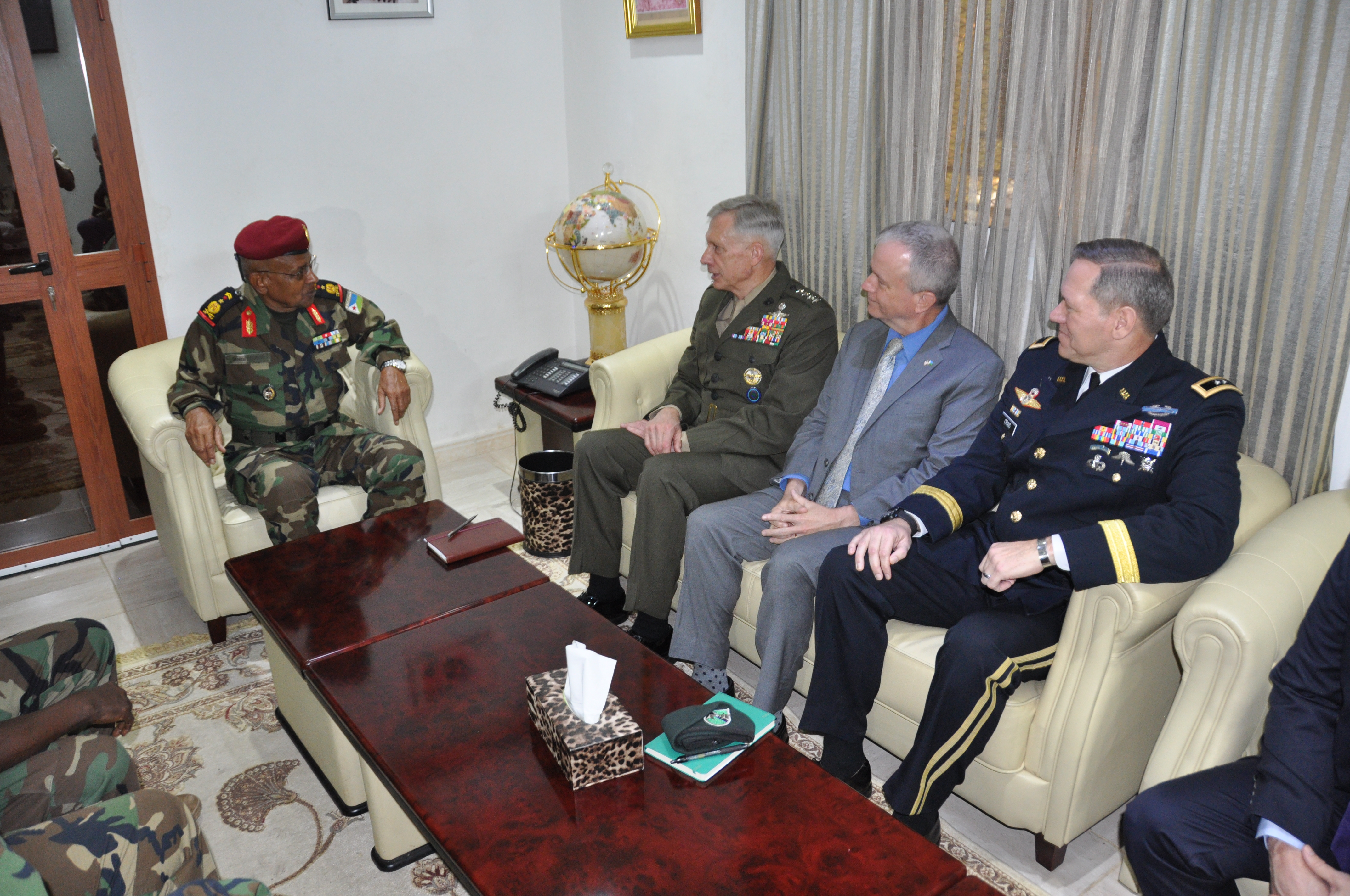 "DJIBOUTI CITY, Djibouti—U.S. Ambassador to Djibouti Larry André and Gen. Thomas D. Waldhauser, commander of United States Africa Command (AFRICOM), met with Djibouti Chief of Defense Gen. Zakaria Cheikh Ibrahim on Nov. 29, 2018, Djibouti City, Djibouti.  During the meeting, the leaders discussed the growth and development of Djiboutian security forces.  ""Our command's core mission is centered on helping our partners to strengthen defense capabilities,"" said Waldhauser.  ""We concentrate our efforts on helping African nations and regional organizations build capable and professional militaries that respect human rights, adhere to the rule of law, and more effectively contribute to stability in Africa.""
