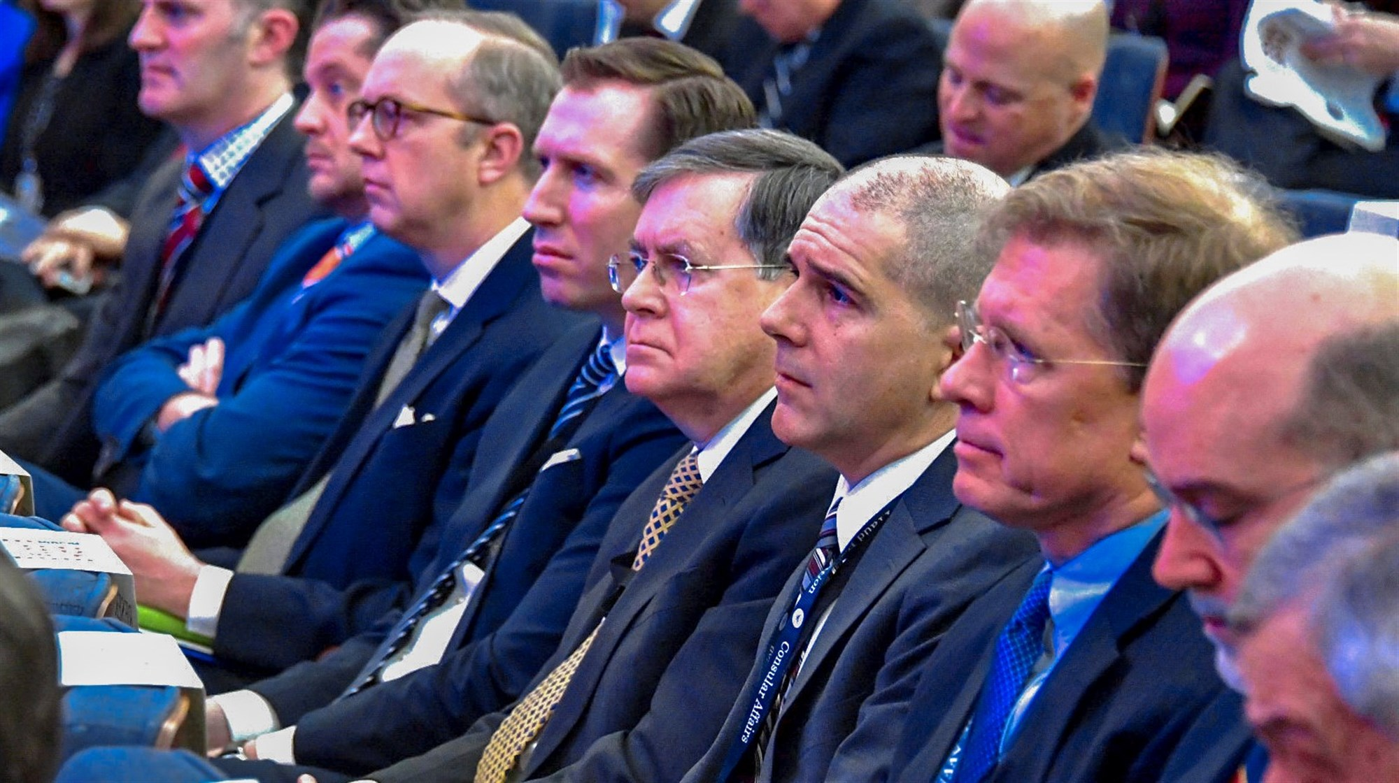 People listen to remarks made by Secretary Michael R. Pompeo at the Global Chiefs of Mission Conference, at the Department of State, on January 16, 2019. [State Department Photo by Michael Gross/Public Domain]