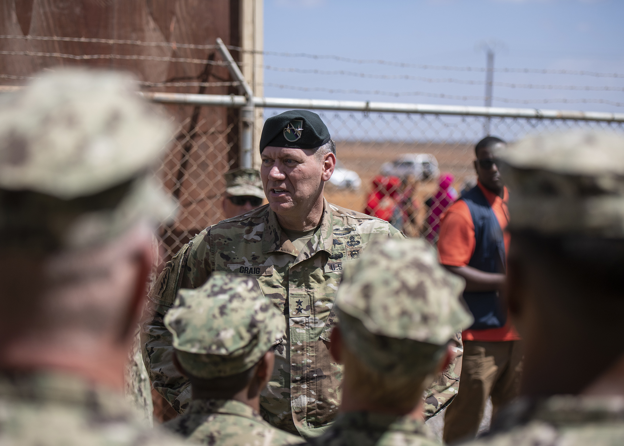U.S. Army Maj. Gen. James D. Craig, commanding general, Combined Joint Task Force-Horn of Africa (CJTF-HOA), speaks to U.S. Navy Seabees from Naval Mobile Construction Battalion 1, assigned to CJTF-HOA, during the Ali Oune Medial Clinic ribbon cutting ceremony in Ali Oune, Djibouti, Jan. 31, 2019. The clinic, which the Seabees have been working to complete for five months, is intended to enhance the Ministry of Health for Djibouti's ability to provide basic medical, birth and after care to the Ali Oune village and its more than 1,000 residents and rural neighbors. (U.S. Air Force photo by Tech. Sgt. Shawn Nickel)