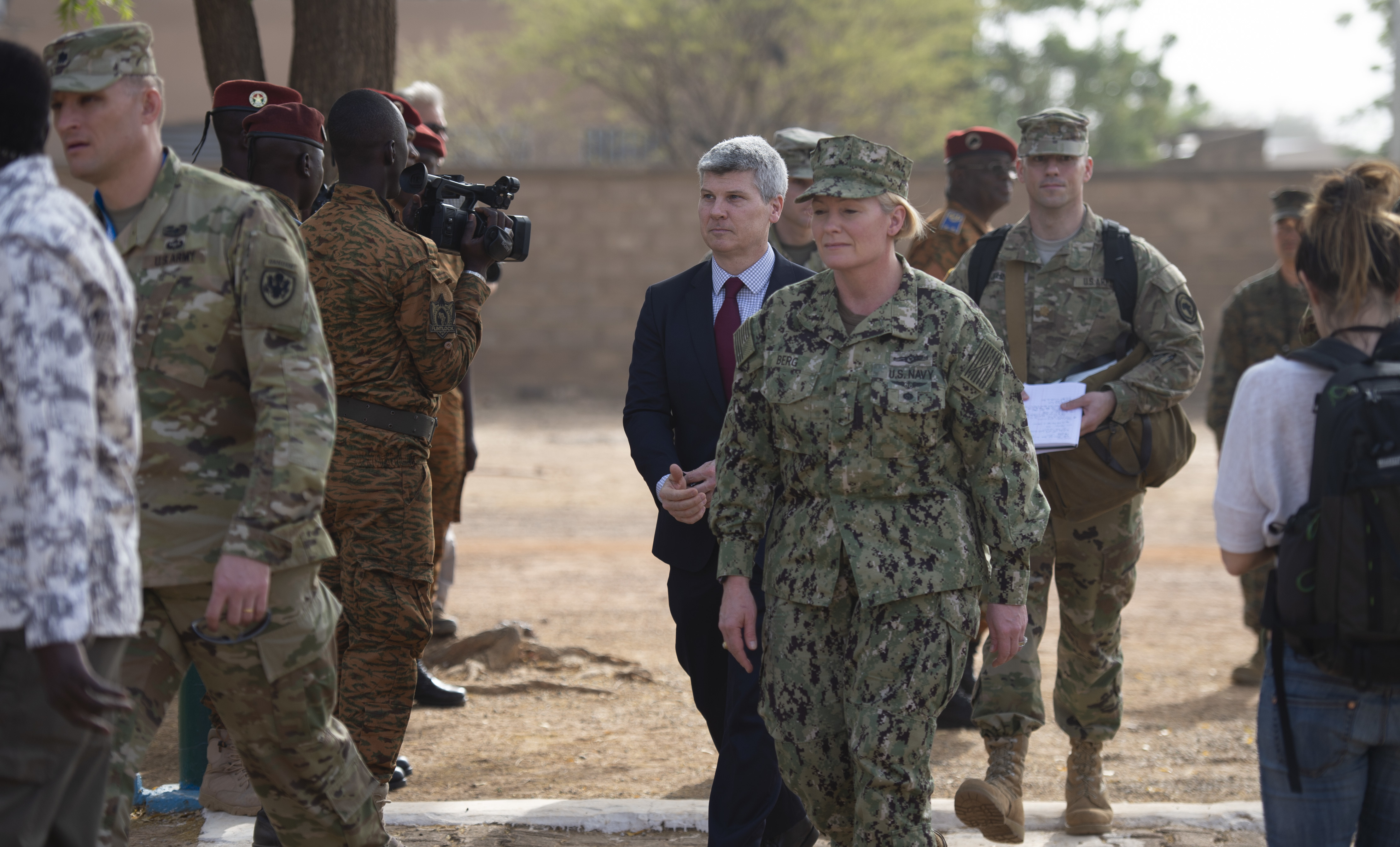 U.S. Africa Command director of intelligence, Rear Adm. Heidi Berg, attends the opening ceremony to Flintlock 2019, in Ouagadougou, Burkina Faso.  Flintlock is U.S. Africa Command's premier and largest special operations forces exercise.(U.S. Navy photo by MC2 (SW/AW) Evan Parker / released)