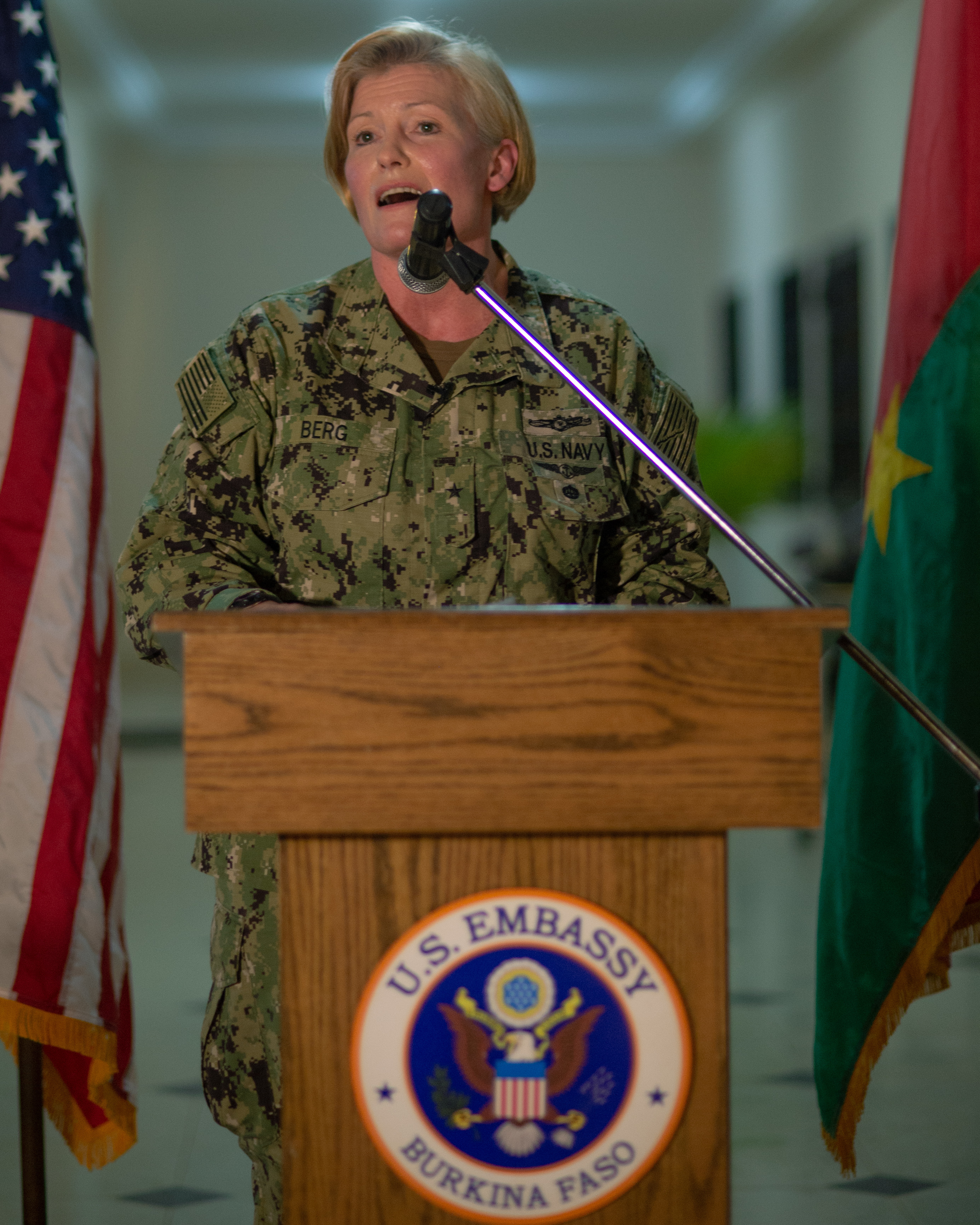 "Rear Adm. Heidi Berg, U.S. Africa Command, director of intelligence, addresses a crowd during a U.S. Embassy hosted Women, Peace and Security Reception in Ouagadougou, Burkina Faso Feb. 19. She emphasized women's roles for a secure, stable and prosperous Africa.  ""We face hard, complex problems in Africa, and the greatest diversity of thought and perspective, as well as access to the best talent, is essential,"" Berg said during her speech.  Berg along with others pushed for a greater integration and utilization of women both on and off the battlefield.  Flintlock 2019 better enables African and western partners to conduct real world missions structured around a coherent campaign plan and seamless integration. (U.S. Navy photo by MC2 (SW/AW) Evan Parker / released)"