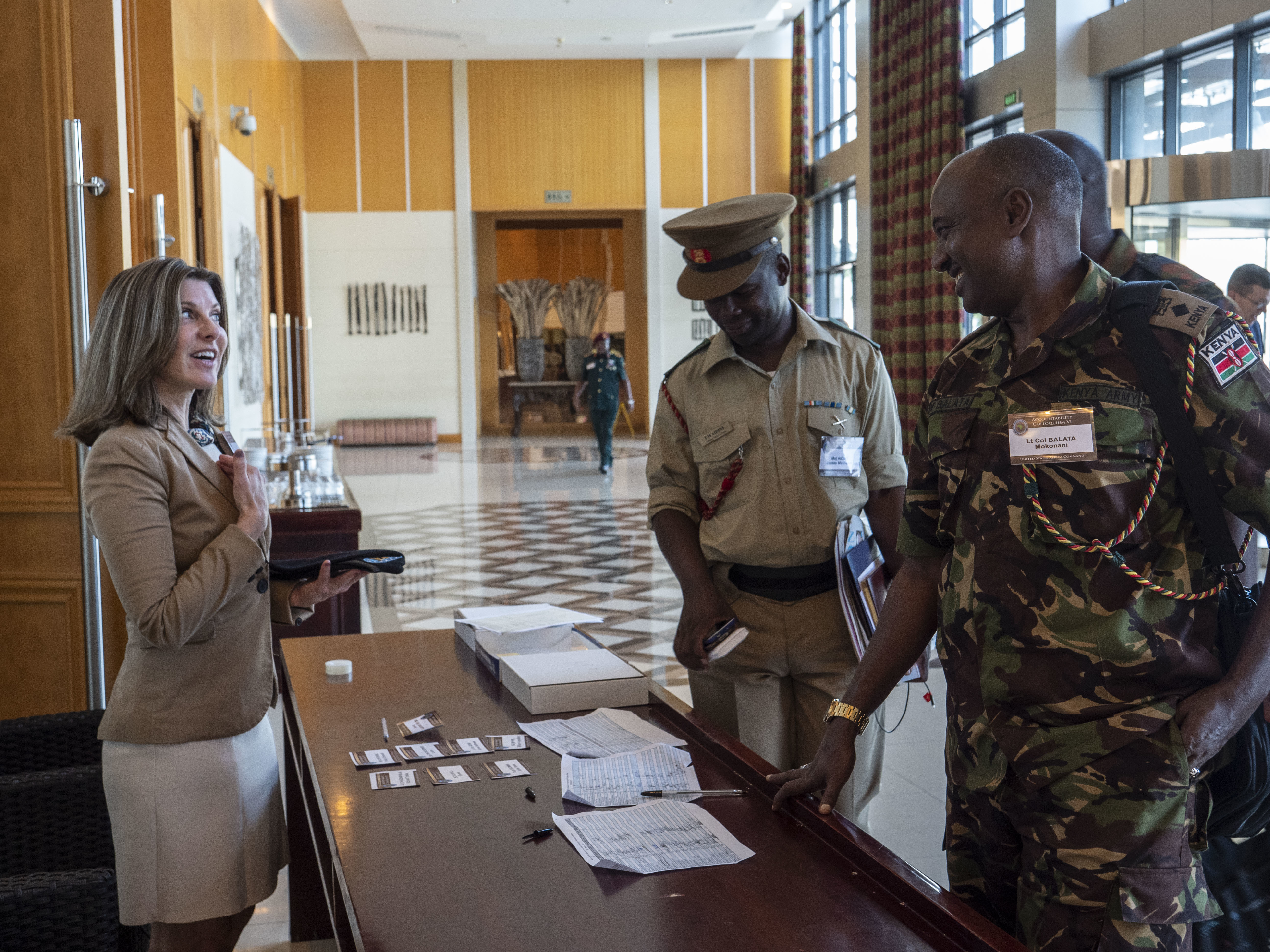 Sandi Franzblau, Attorney Advisor with the United States Africa Command (USAFRICOM) Office of Legal Counsel, greets delegates on the second morning of the Accountability Colloquium VI, held in Lilongwe, Malawi, February 27, 2019. The Accountability Colloquium is an annual event hosted by USAFRICOM that seeks to create a collaborative forum for African legal professionals and military commanders to exchange information on topics related to African military operations. (DoD Photo by U.S. Army Sergeant Edward A. Salcedo)