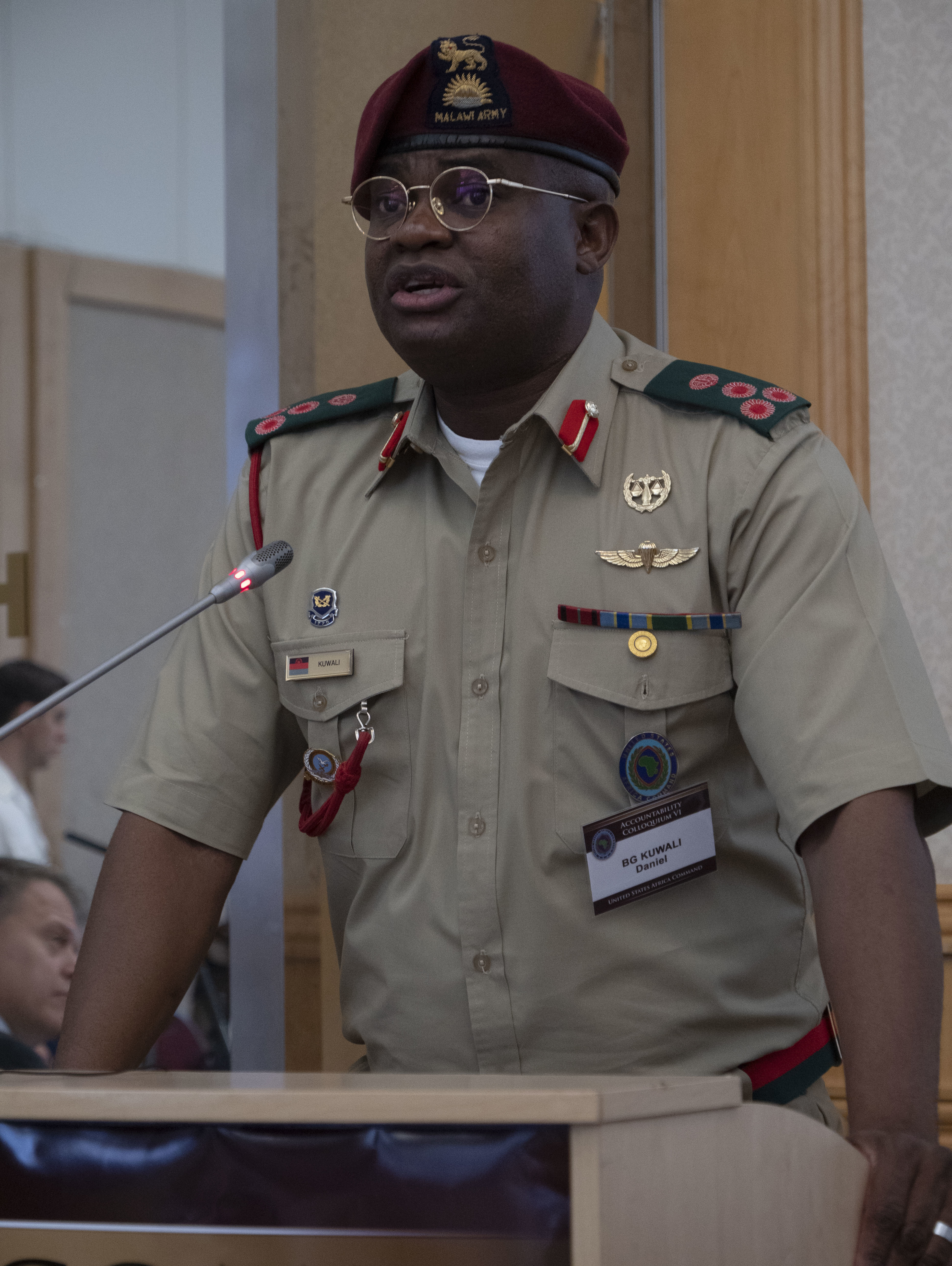 Brigadier General Dan Kuwali of the Malawi Defense Force gives the overview of the Program Goals at the beginning of Accountability Colloquium VI, held in Lilongwe, Malawi, on February 26, 2019. The Accountability Colloquium seeks to address issues related to accountability under the Law of Armed Conflict, as well as facilitate discussions related to military justice, command responsibility, and United Nations and African military operations. (DoD Photo by U.S. Army Sergeant Edward A. Salcedo)