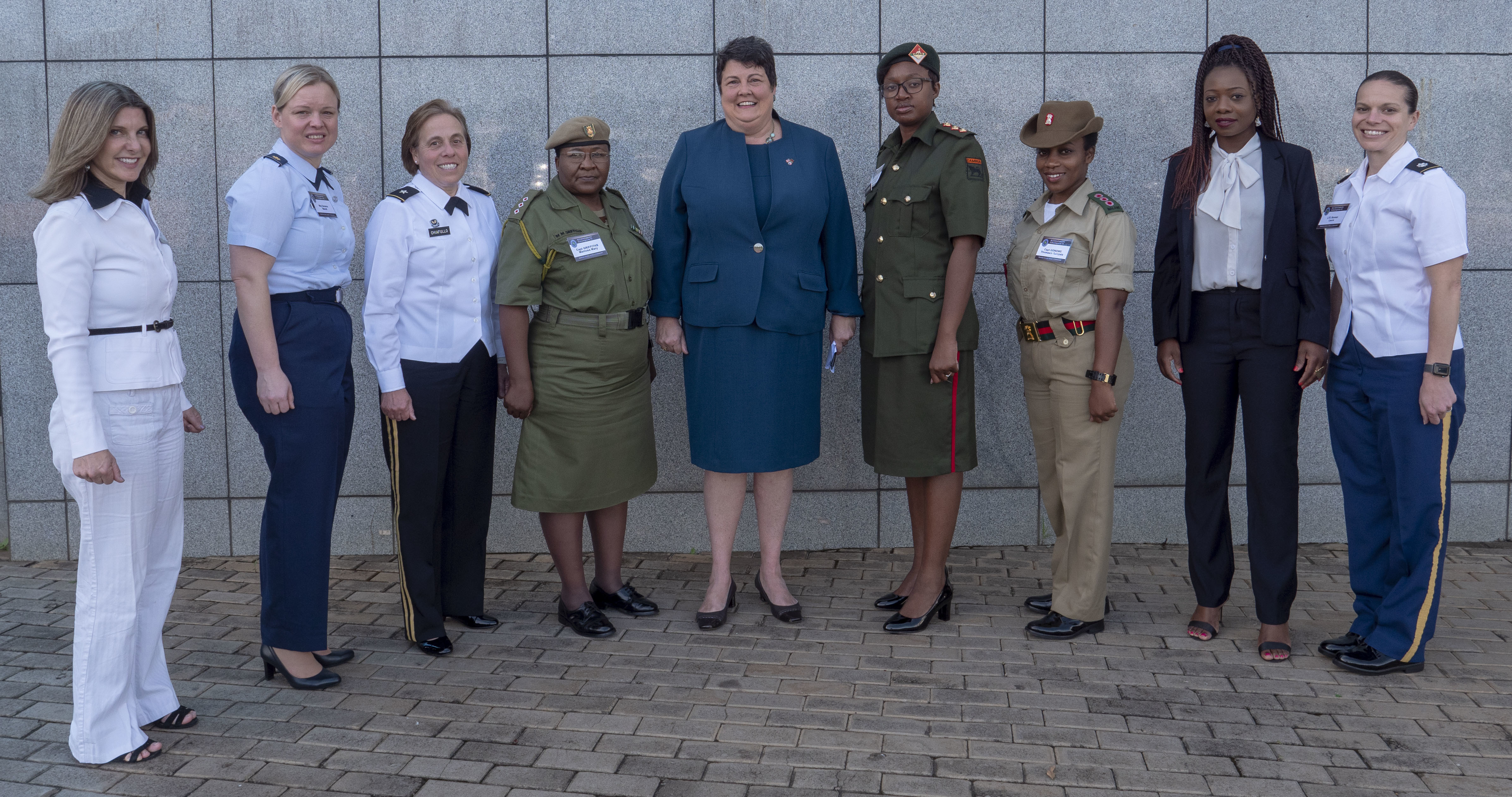 The female delegates to the Accountability Colloquium VI pose with U.S. Ambassador to the Republic of Malawi Virginia Palmer in Lilongwe, Malawi, February 26, 2019. While militaries around the world are still heavily male-dominated, women have made large strides in breaking gender-based barriers in recent years. From left: Sandra Franzblau, Attorney Advisor with United States Africa Command's Office of Legal Counsel; Major Wendi Sazama, United States of America; Brigadier General Mary Chaifullo; Captain Momosa Mary Griffiths; Ambassador Virginia Palmer; Lieutenant Beene Mudenda Mutinda; Captain Thomasin Tumpale Gondwe; Mtendere Gondwe, Representative from the African Union; Lieutenant Colonel Laura Roman.