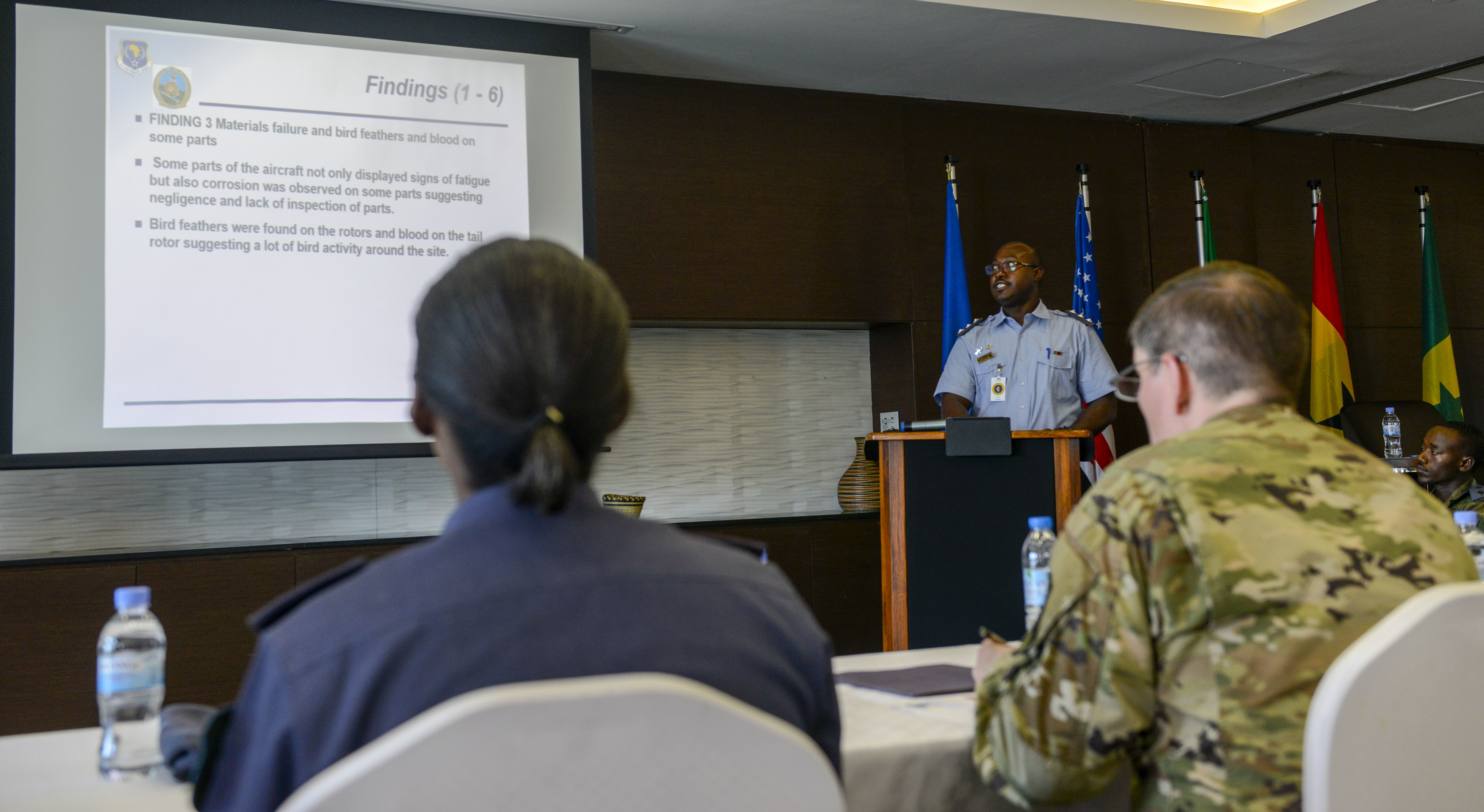 Participants in the African Partnership Flight Rwanda brief their safety investigation findings to a panel of U.S. Air Forces Africa and Rwanda Defence Force members in Kigali, Rwanda, March 8, 2019. Particiapants investigated a simulated aircraft crash as the culmination of the week's safety discussions. Hosted by U.S. Air Forces Africa and the Rwanda Defence Force, the weeklong event allowed 45 air force delegates from Rwanda, Cameroon, Ghana, Senegal, and Zambia to learn from and share ideas with each other and the U.S. Air Force about their safety programs. (U.S. Air Force photo by Tech. Sgt. Timothy Moore)