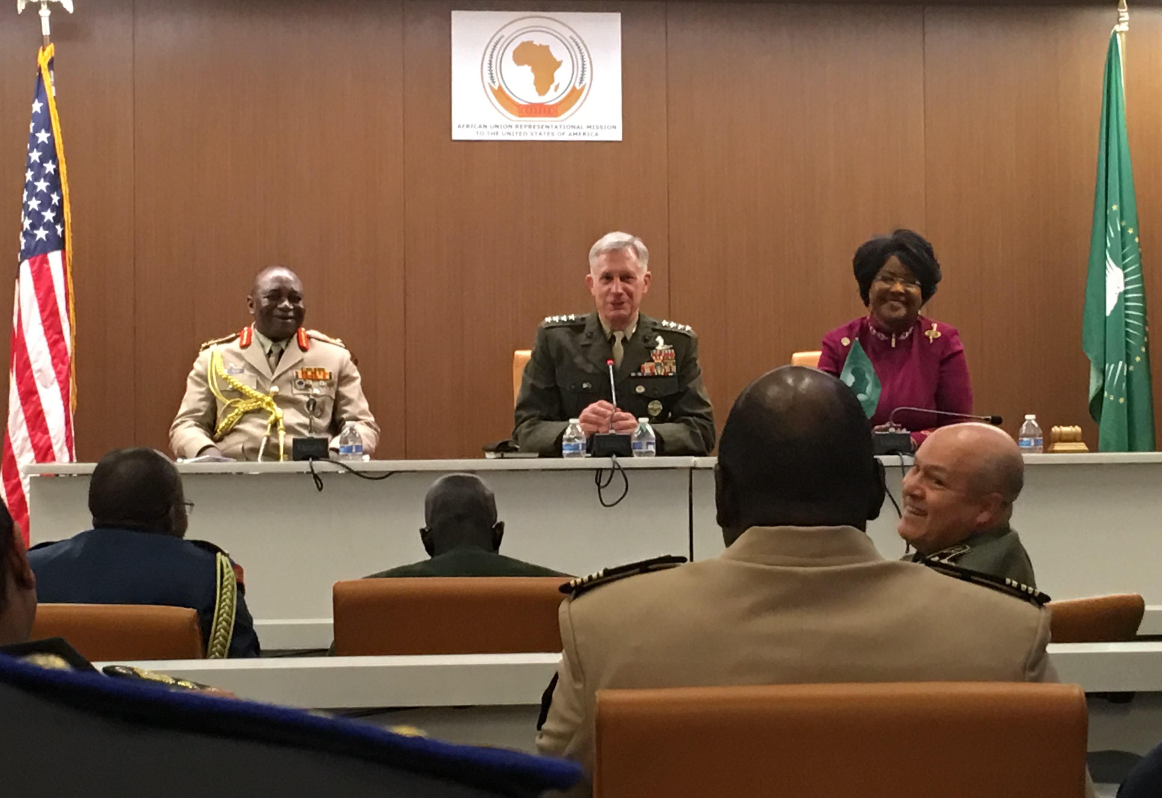 Marine Corps Gen. Thomas D. Waldhauser engaged with 21 defense attaches and the African Union Ambassador to the United States, Her Excellence Dr. Arikana Chihombori-Quao, in a wide-ranging discussion at the Africa House, in Washington D.C. While the U.S. National Defense Strategy and the U.S. National Security Strategy prioritize Great Power Competition, violent extremist organizations, security challenges, and U.S. commitment to the region were on the minds of African partners during this engagement. Waldhauser said U.S. Africa Command remains committed to building partner capacity and being a partner of choice for Africans.