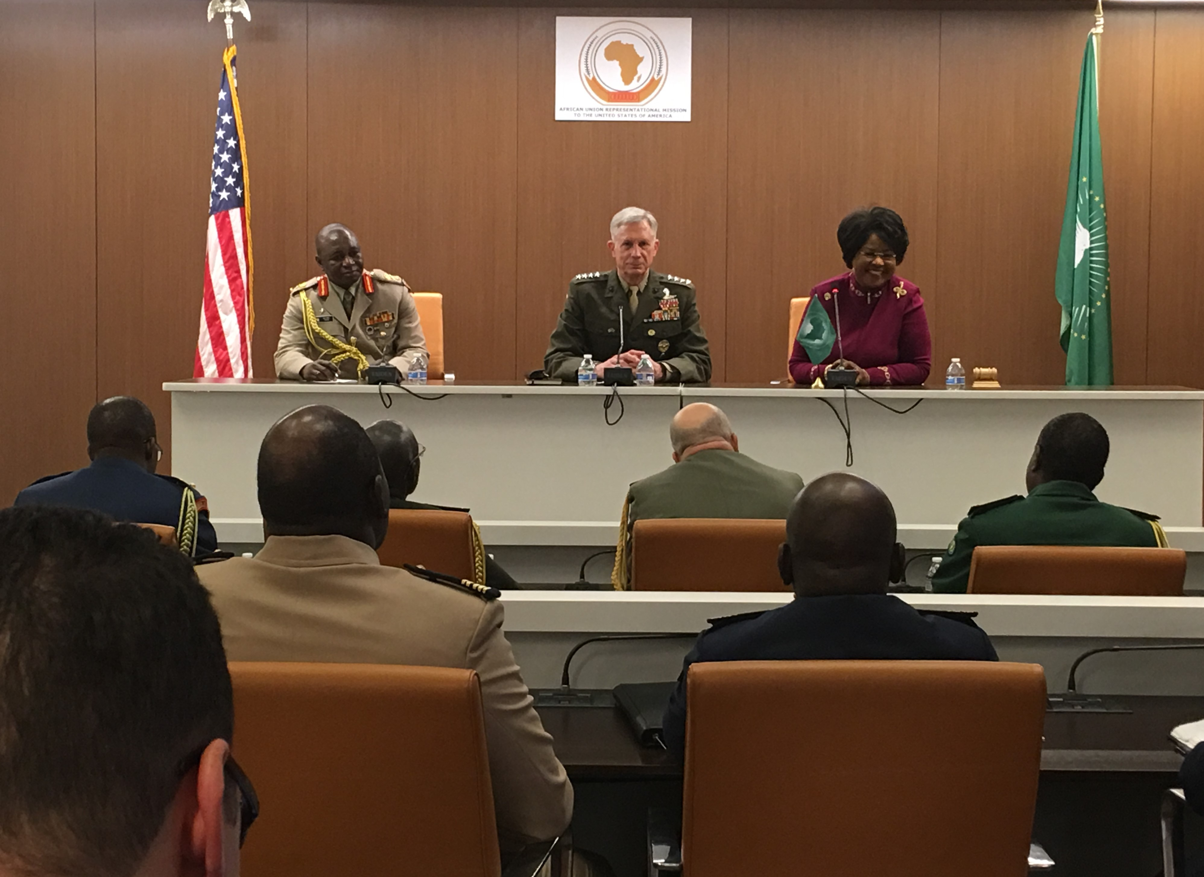 Marine Corps Gen. Thomas D. Waldhauser engaged with 21 defense attaches and the African Union Ambassador to the U.S. in a wide-ranging discussion at the Africa House, in Washington D.C. Waldhauser discussed U.S. strategies pertaining to defense, Africa, and common challenges on the continent. The U.S. is committed to being a preferred security partner of choice,  engaging in activities to ensure U.S. interests in Africa are protected against destabilizing competitor state influence, activities, and aggression.