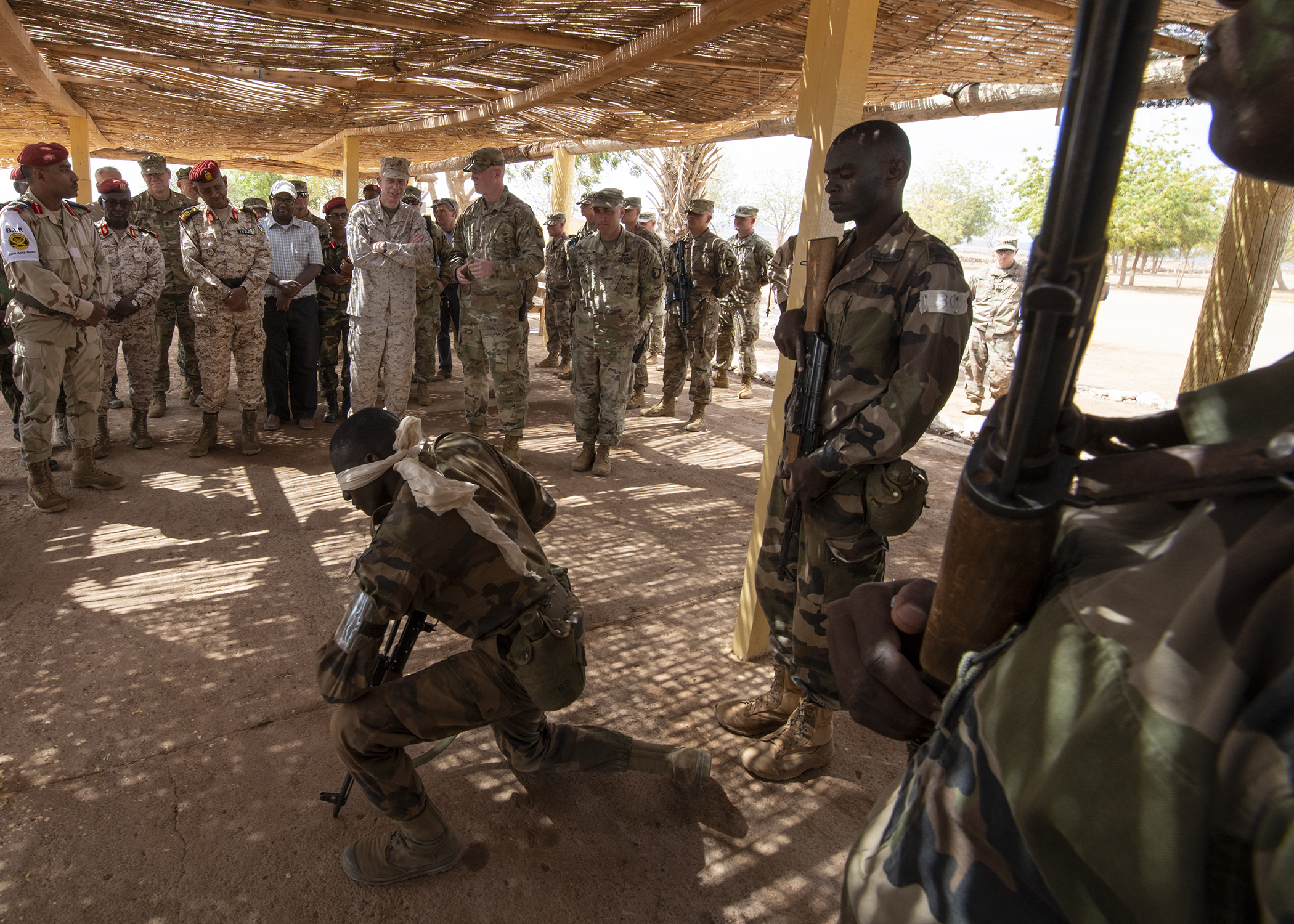 U.S. Marine Corps Gen. Thomas D. Waldhauser, commander of U.S. Africa Command, watches a demonstration by a soldier assigned to the Rapid Intervention Battalion, the Djiboutian army's elite military force, during a visit with senior Djiboutian officials, including Chief of General Staff of the Djibouti Armed Forces Gen. Zakaria Cheikh Ibrahim, at a training base in Djibouti, March 21, 2019. Waldhauser visited in order to discuss the growth and development of Djiboutian security forces. (U.S. Air Force photo by Tech. Sgt. Shawn Nickel)