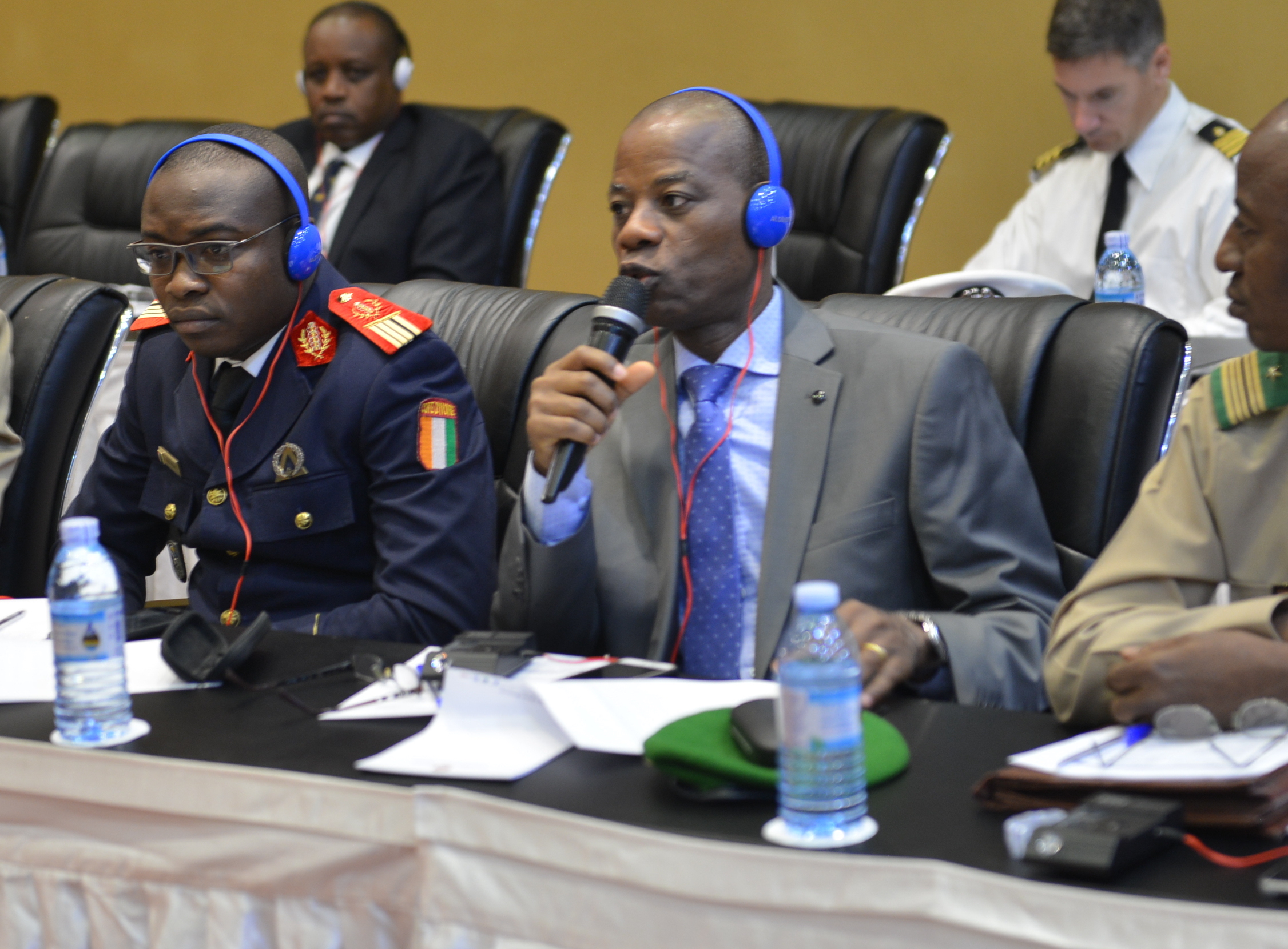Brig. Gen. Dowlo Yao, Chief of Health Services, Cote D'Ivoire Armed Forces and Chairman of Africa Malaria Task Force, asks a question to during the AMTF Key Leader Event in Kampala, Uganda, March 25, 2019.