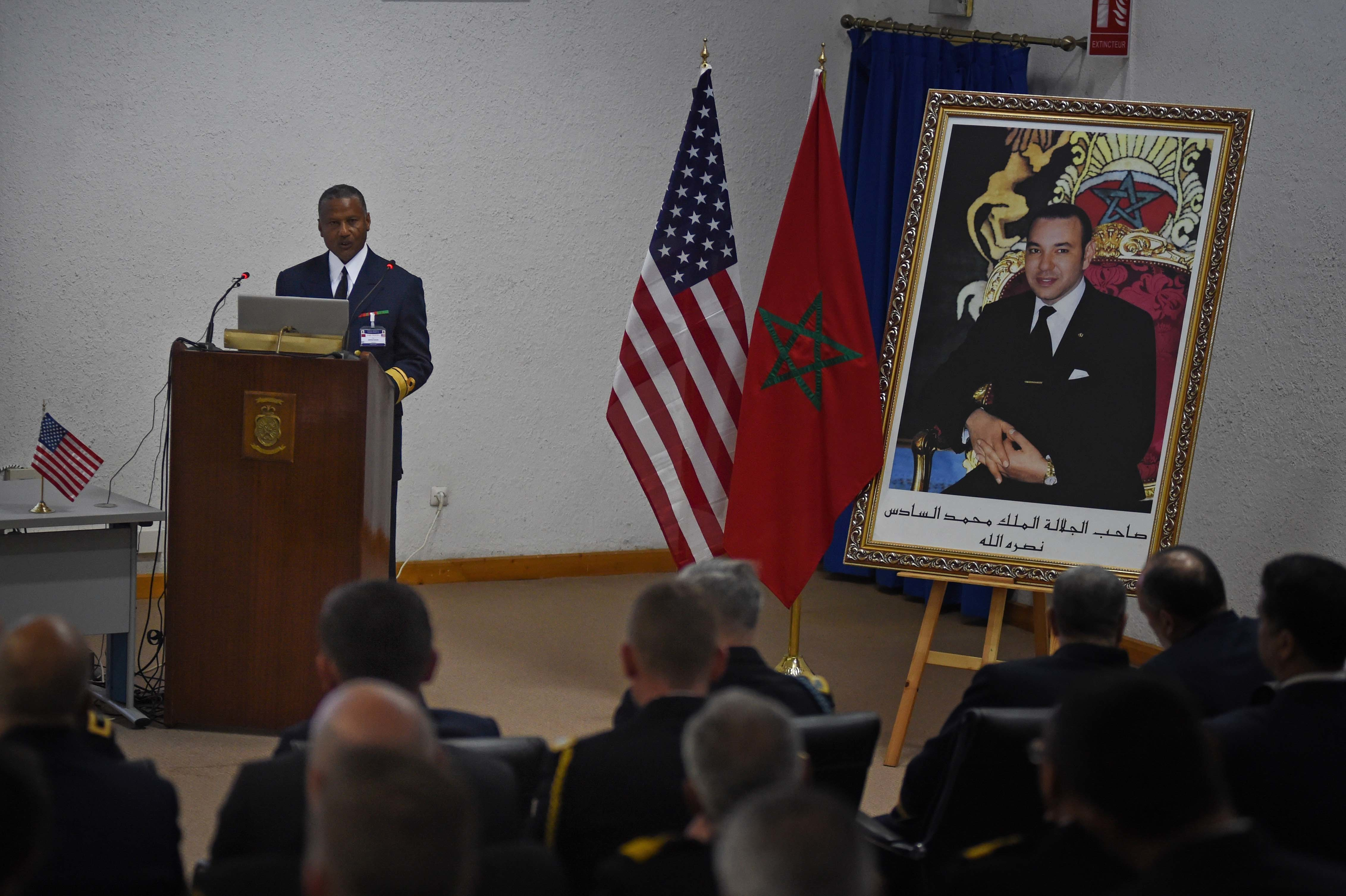 CASABLANCA, MOROCCO (March 29, 2019) Royal Moroccan Navy Deputy Chief of Operations Rear Adm. Abdenbi Bakadir gives remarks during the opening ceremony for exercise Phoenix Express 2019. Sponsored by U.S. Africa Command (AFRICOM) and facilitated by U.S. Naval Forces Europe-Africa, Phoenix Express is designed to improve regional cooperation, increase maritime domain awareness information sharing practices, and operational capabilities to enhance efforts to achieve safety and security in the Mediterranean Sea. (U.S. Navy Photo by Chief Mass Communication Specialist Arif Patani/Released)