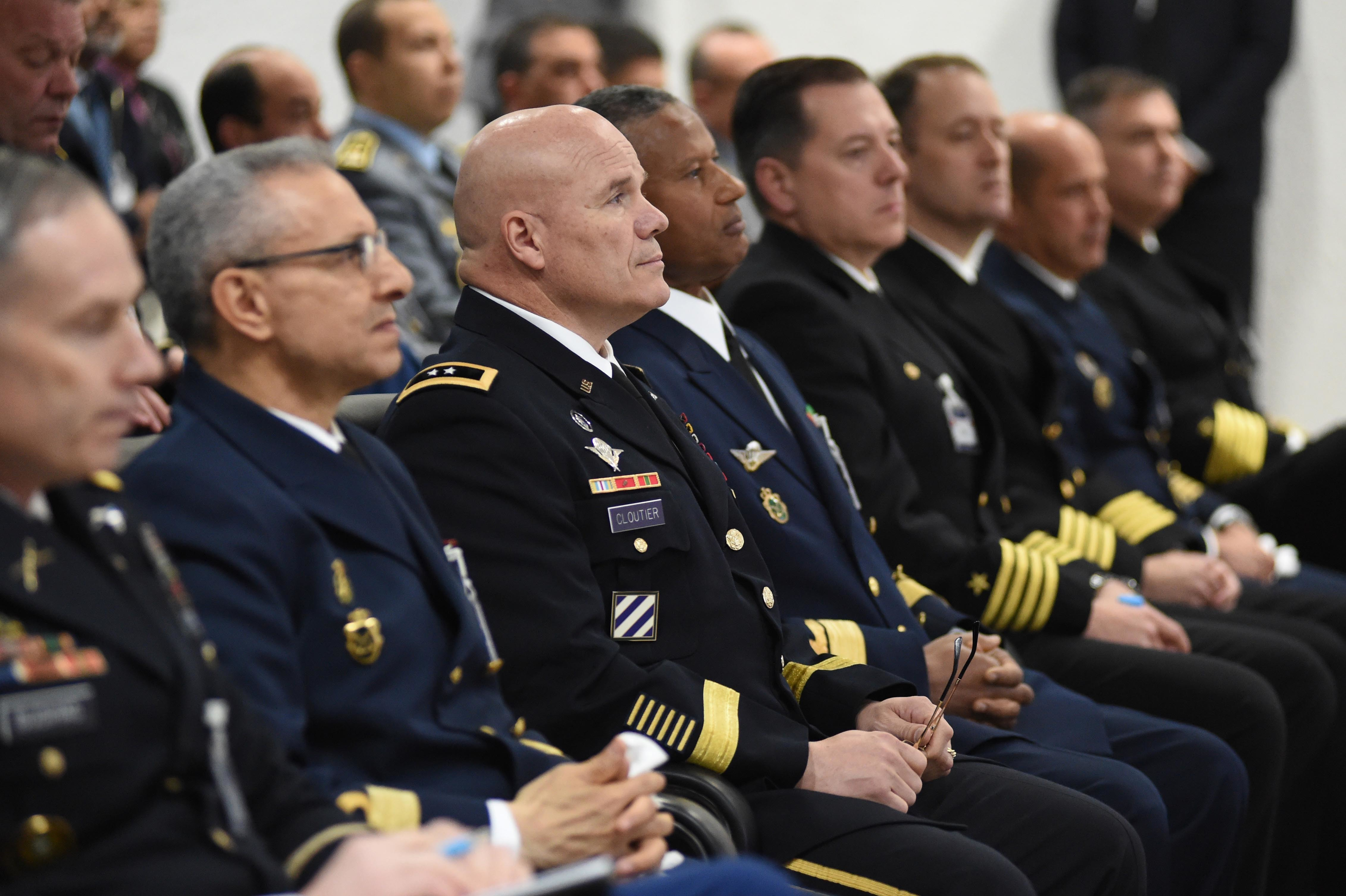 CASABLANCA, MOROCCO (March 29, 2019) U.S. Army Maj. Gen. Roger L. Cloutier Jr., U.S. Army Africa commanding general, third from the left, listens to remarks during the opening ceremony for exercise Phoenix Express 2019. Sponsored by U.S. Africa Command (AFRICOM) and facilitated by U.S. Naval Forces Europe-Africa, Phoenix Express is designed to improve regional cooperation, increase maritime domain awareness information sharing practices, and operational capabilities to enhance efforts to achieve safety and security in the Mediterranean Sea. (U.S. Navy Photo by Chief Mass Communication Specialist Arif Patani/Released)