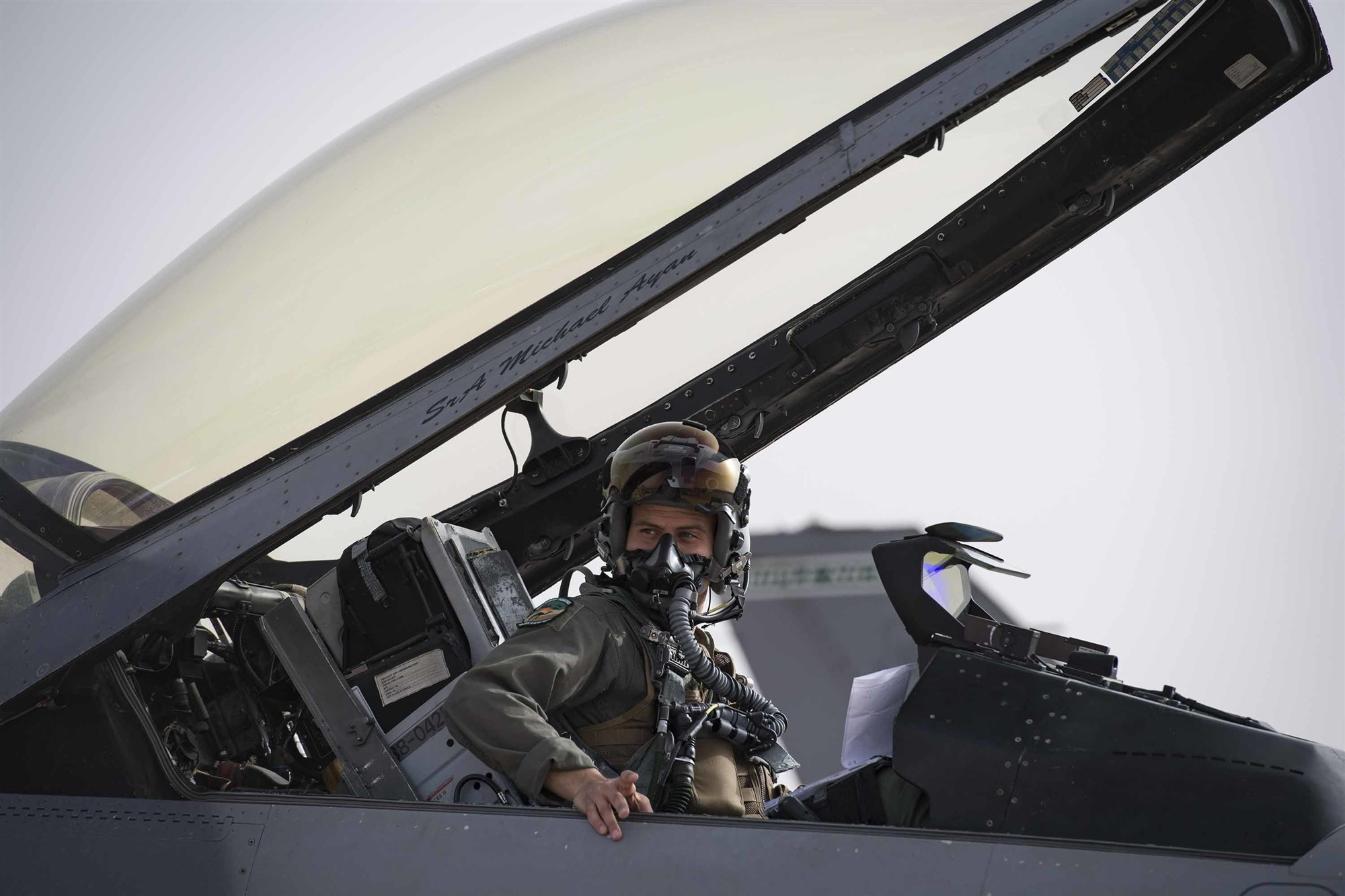 U.S. Air Force 1st Lt. Quincey Watts, a 555th Expeditionary Fighter Squadron F-16C Fighting Falcon pilot, exits his aircraft during exercise African Lion 2019 at Ben Guerir Air Base, Morocco, March 25, 2019. The exercise was designed to strengthen military relationships with allies and partners while increasing interoperability. African Lion 2019 is a Chairman of the Joint Chiefs of Staff-sponsored, U.S. Africa Command-scheduled, U.S. Marine Corps Forces Europe and Africa-led, joint and combined exercise conducted in the Kingdom of Morocco with a spoke in Tunisia, and armed forces participants in from Canada, France, Senegal, Spain, and the United Kingdom. (U.S. Air Force photo by Staff Sgt. Ceaira Tinsley)