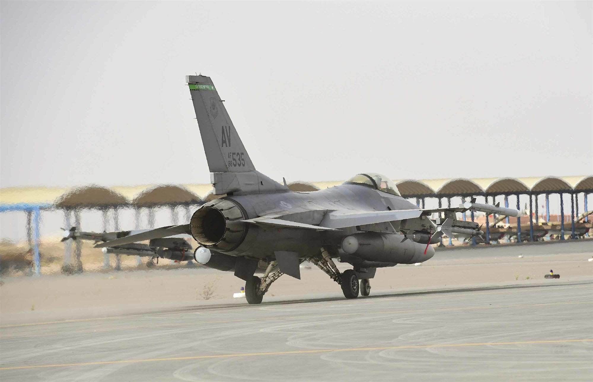 An F-16C Fighting Falcon from the 555th Expeditionary Fighter Squadron taxis during Exercise African Lion 2019, at Ben Guerir, Morocco, March 25, 2019. The exercise took place in the Kingdom of Morocco and was sponsored by U.S. Africa Command. African Lion 2019 is a Chairman of the Joint Chiefs of Staff-sponsored, U.S. Africa Command-scheduled, U.S. Marine Corps Forces Europe and Africa-led, joint and combined exercise conducted in the Kingdom of Morocco with a spoke in Tunisia, and armed forces participants in from Canada, France, Senegal, Spain, and the United Kingdom. (U.S. Air Force photo by Staff Sgt. Ceaira Tinsley)