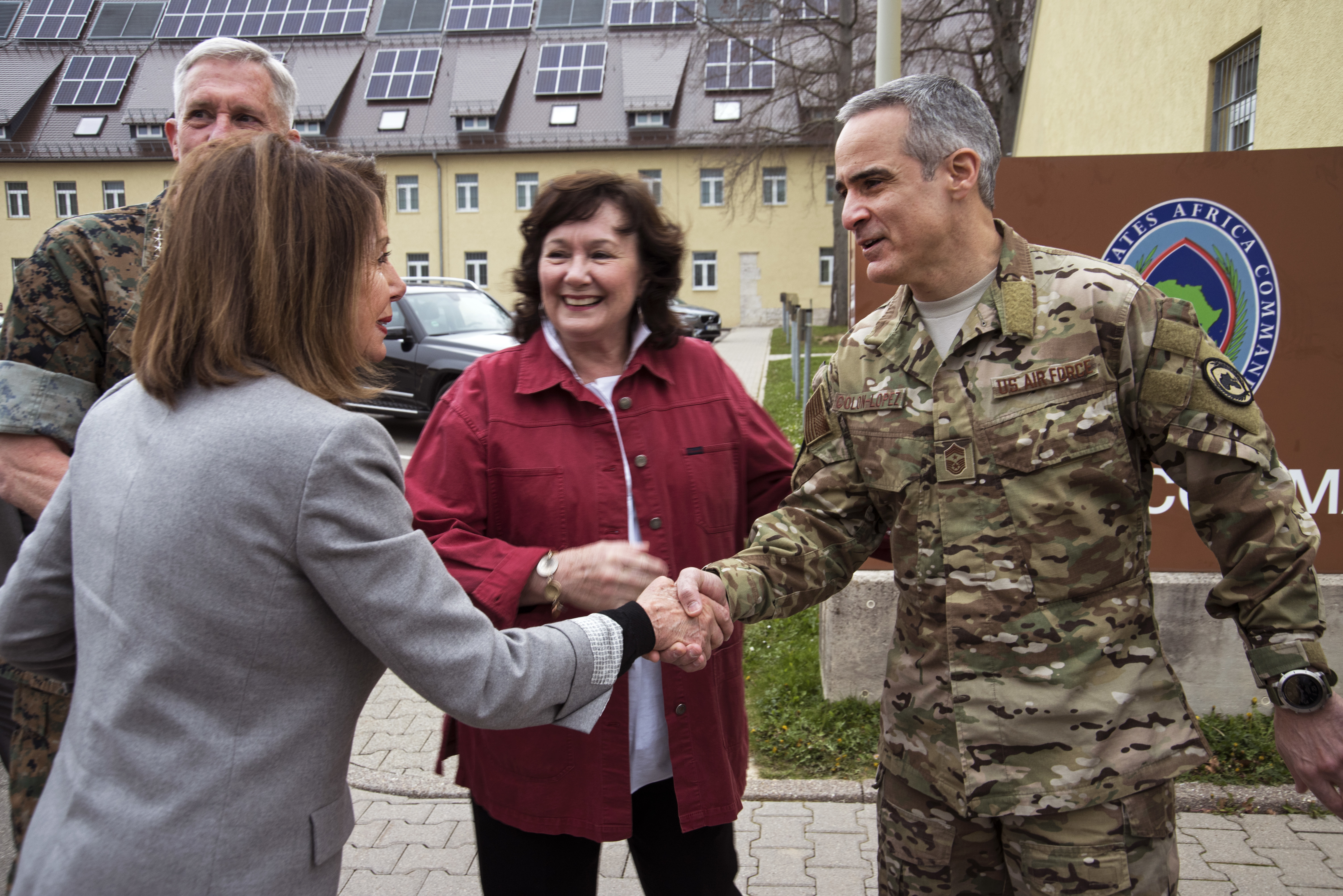 Chief Master Sgt. Ramon Colon-Lopez, command senior enlisted leader, U.S. Africa Command, greets Speaker of the House Nancy Pelosi during a visit April 13, 2019 in Stuttgart, Germany. Pelosi along with a congressional delegation visited AFRICOM to gain insight about the command's operations and activities supporting the U.S. strategy for Africa. (U.S. Navy photo by Mass Communication Specialist 1st Class Christopher Hurd/Released)