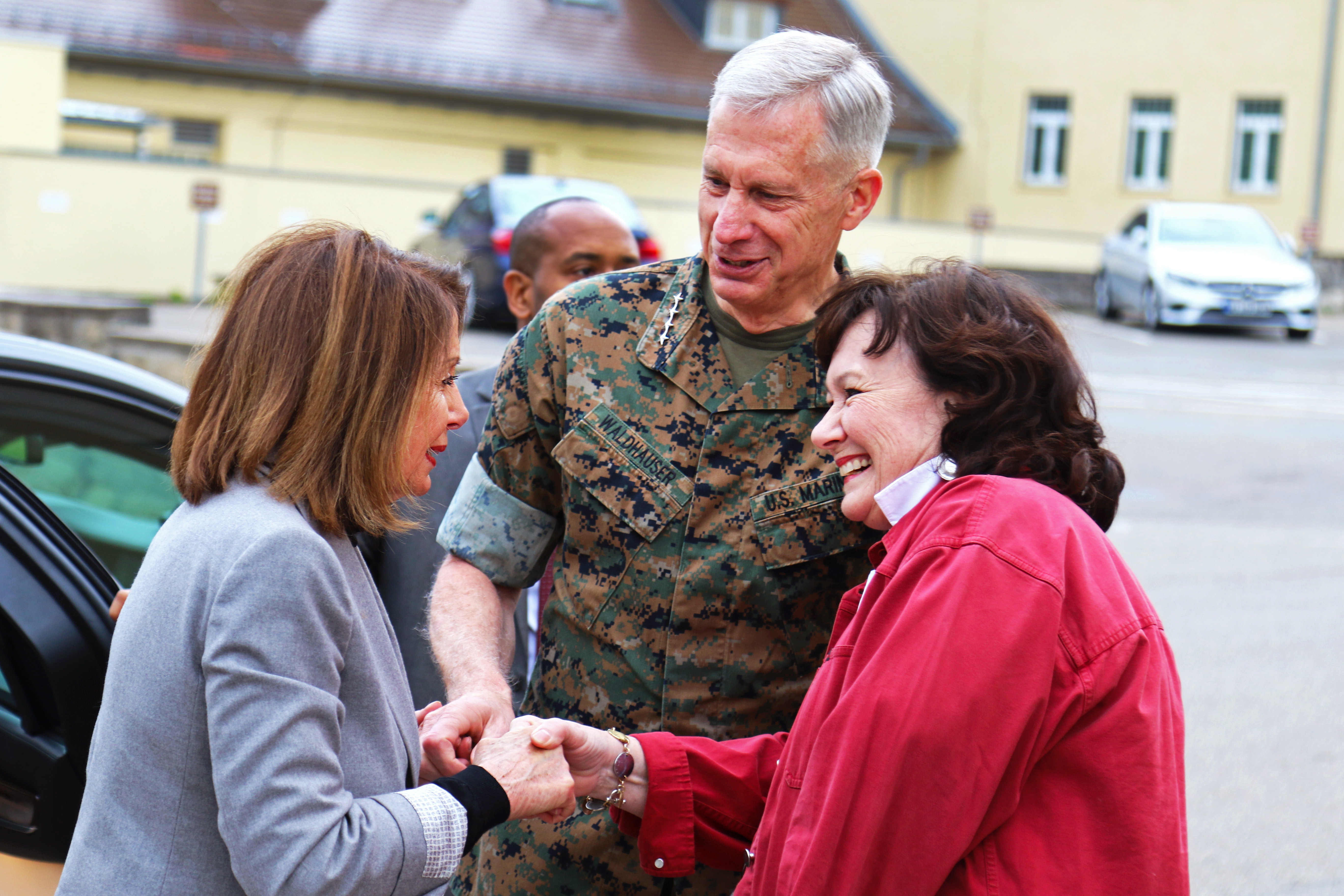 Marine Corps Gen. Thomas Waldhauser, commander, U.S. Africa Command, and his wife Gail Waldhauser greet Speaker of the House Nancy Pelosi during a visit April 13, 2019 in Stuttgart, Germany. Pelosi along with a congressional delegation visited AFRICOM to gain insight about the command's operations and activities supporting the U.S. strategy for Africa. (U.S. Navy photo by Mass Communication Specialist 1st Class Christopher Hurd/Released)