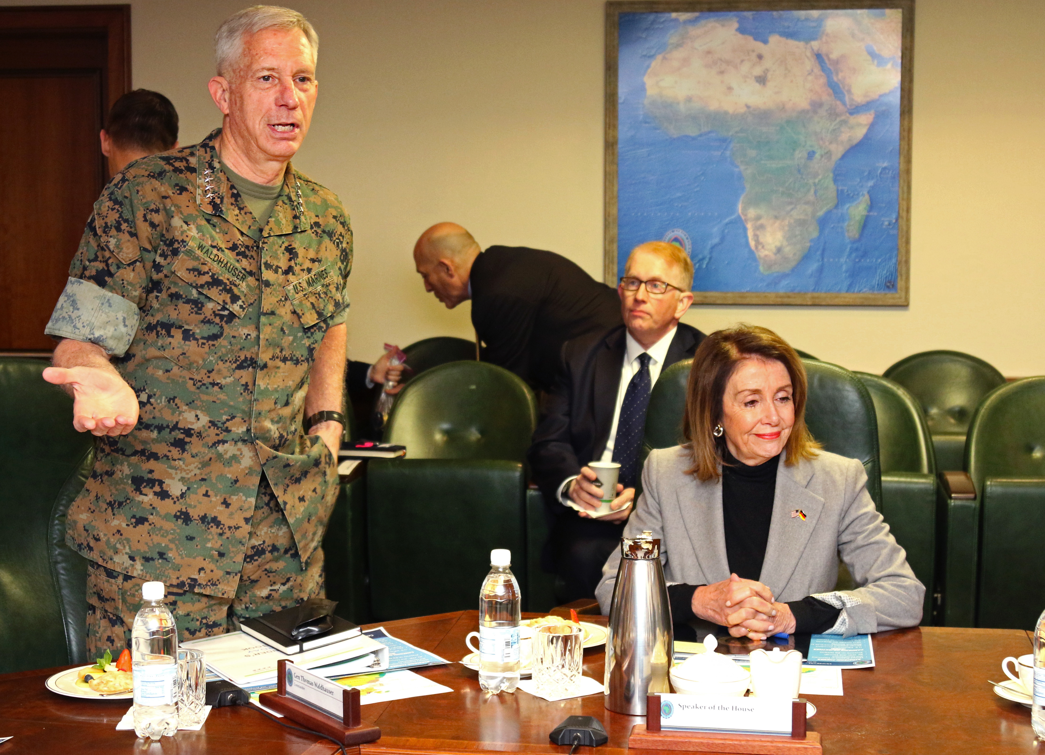 Marine Corps Gen. Thomas Waldhauser, commander, U.S. Africa Command, speaks to a congressional delagation during a visit April 13, 2019 in Stuttgart, Germany. The delegation which included Speaker of the House Nancy Pelosi visited AFRICOM to gain insight about the command's operations and activities supporting the U.S. strategy for Africa. (U.S. Army photo by Nate Herring/Released)