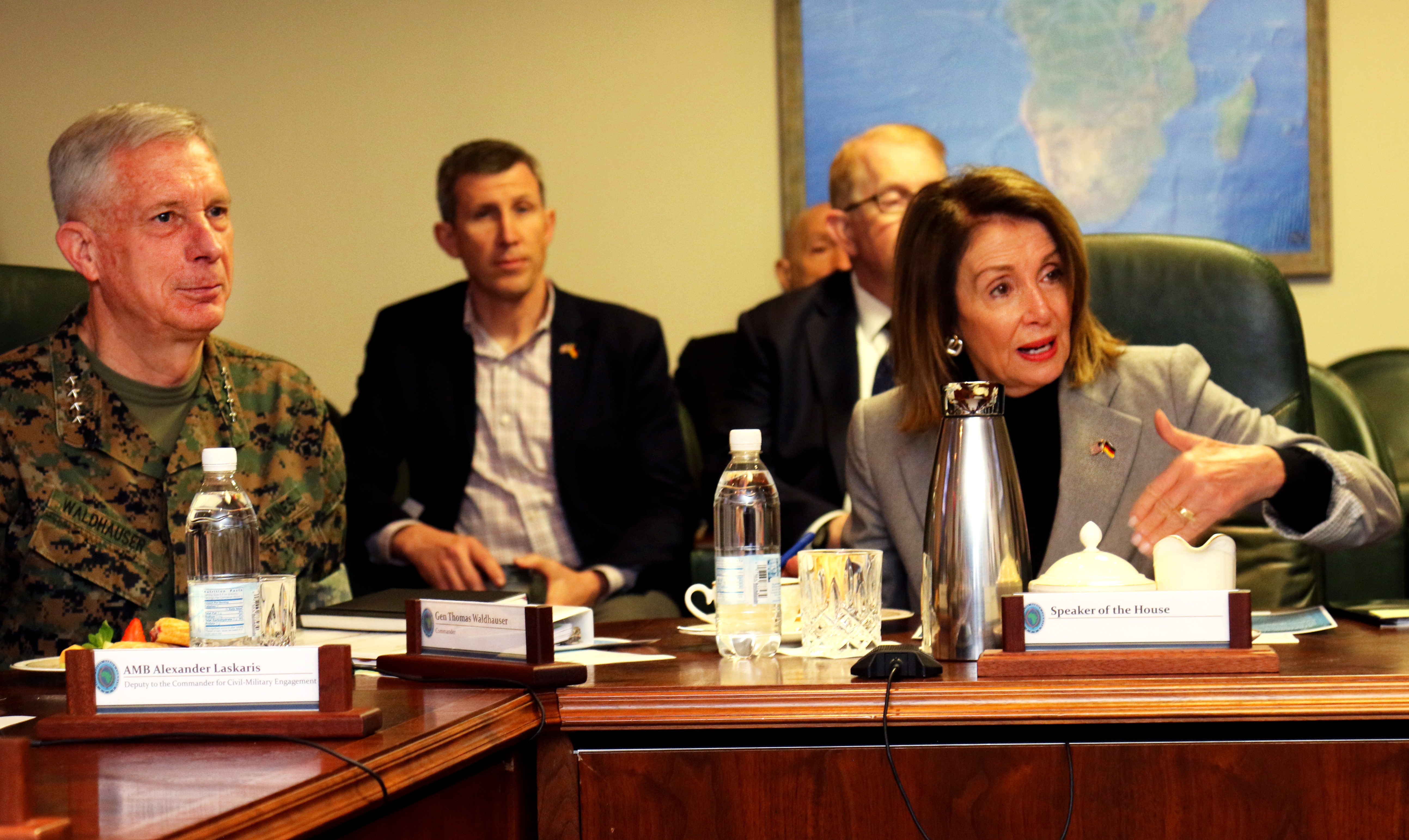 Speaker of the House Nancy Pelosi talks to U.S. Africa Command senior leaders and key personnel during a visit April 13, 2019 in Stuttgart, Germany. A group of congressional delegates including Pelosi visited AFRICOM to gain insight on the command's operations and activities supporting the U.S. strategy for Africa. (U.S. Army photo by Nate Herring/Released)