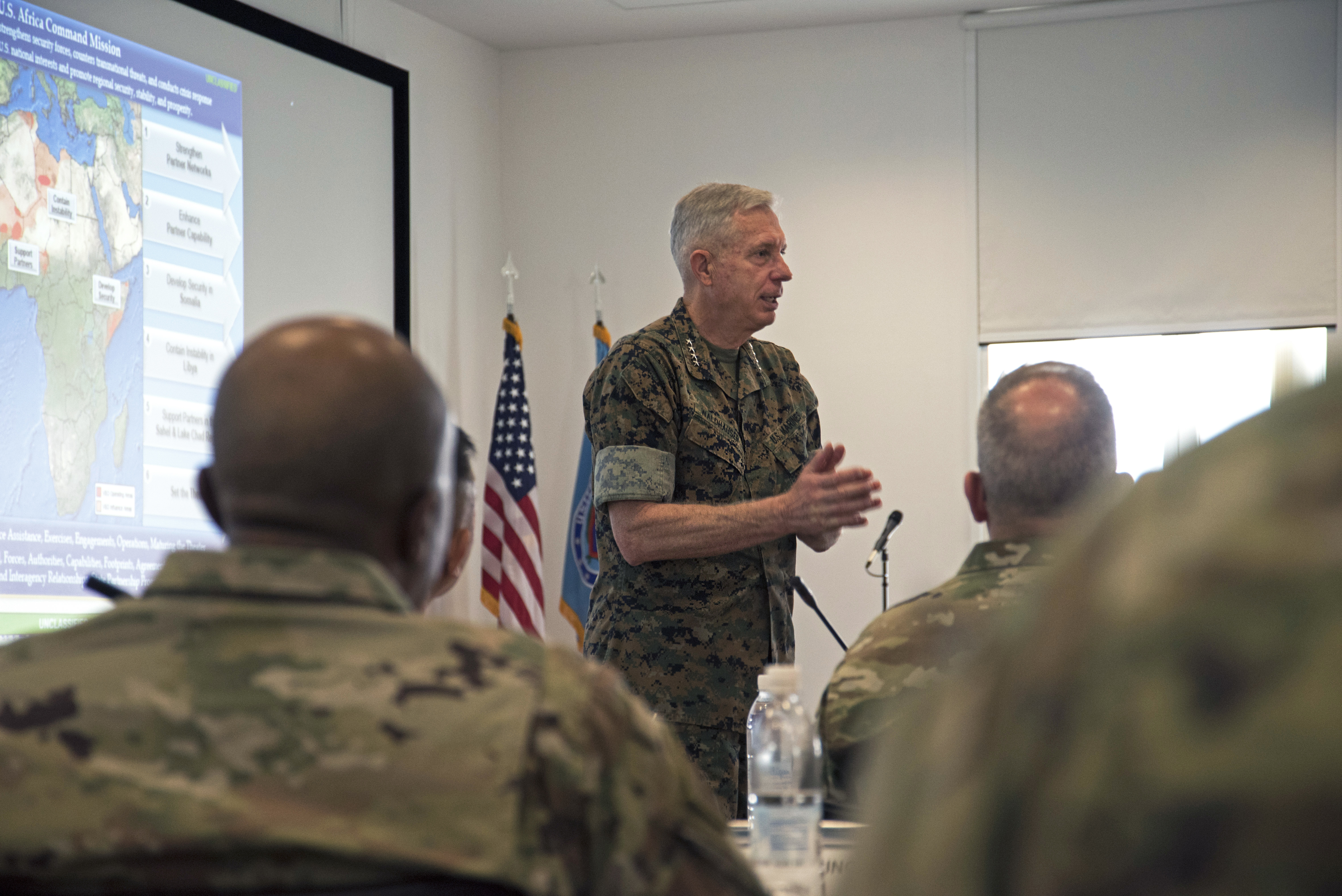 Marine Corps Gen. Thomas Waldhauser, commander, U.S. Africa Command, speaks to attendees during The 2019 Adjutant General State Partnership Program Conference April 15 in Stuttgart, Germany. Waldhauser spoke about the important role that National Guard members and the SPP play in the AFRICOM mission. (U.S. Navy photo by Mass Communication Specialist 1st Class Christopher Hurd/Released)