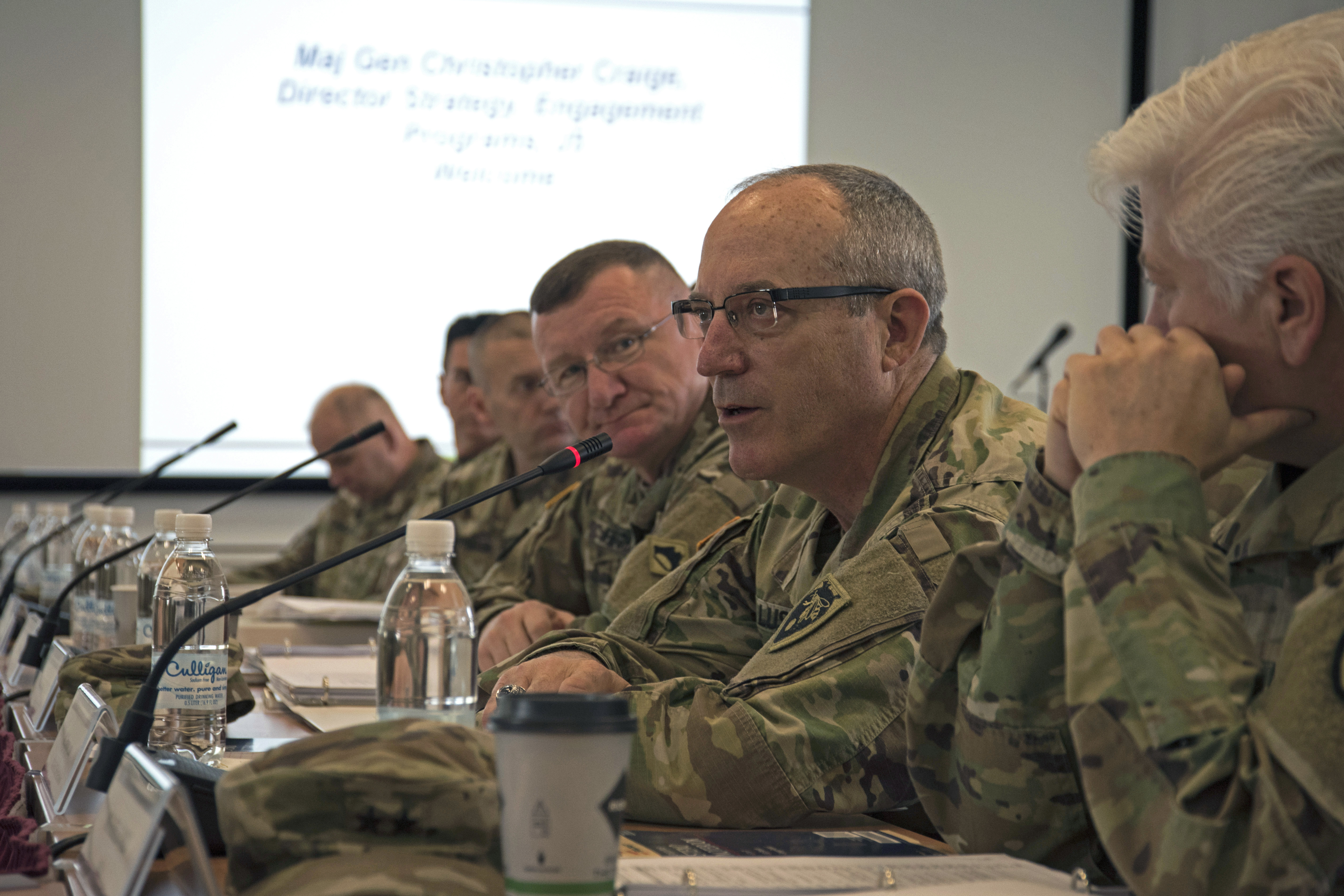 Army Maj. Gen. Gregory Lusk, the adjutant general for the North Carolina National Guard, speaks during The 2019 Adjutant General State Partnership Program Conference April 15 in Stuttgart, Germany. Officials from all partnering states and the District of Columbia gathered to discuss increasing coordination and communication while also increasing synergy to achieve AFRICOM campaign goals. (U.S. Navy photo by Mass Communication Specialist 1st Class Christopher Hurd/Released)